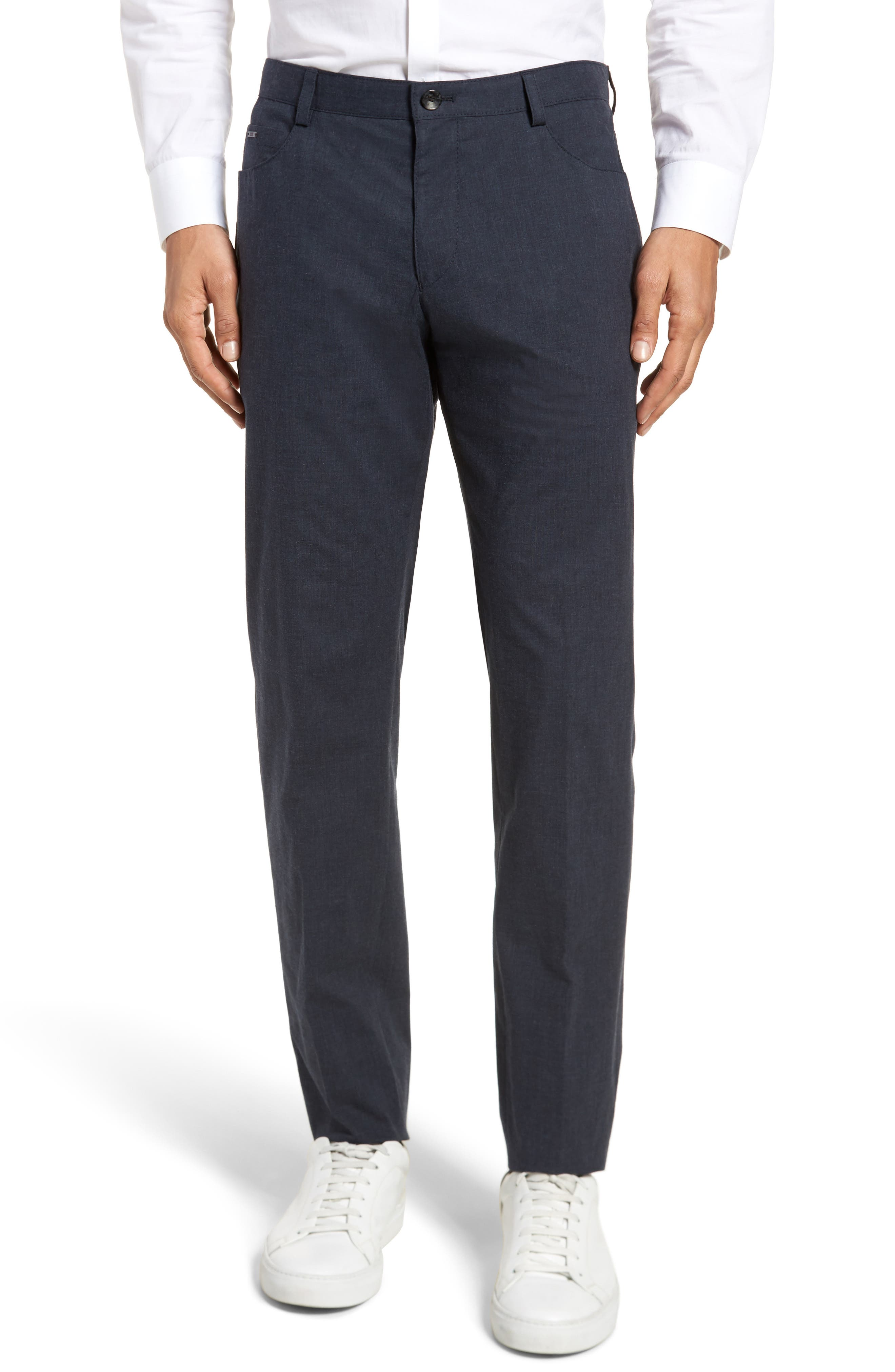 Gaetano Flat Front Stretch Solid Cotton Trousers,                         Main,                         color, DARK GREY