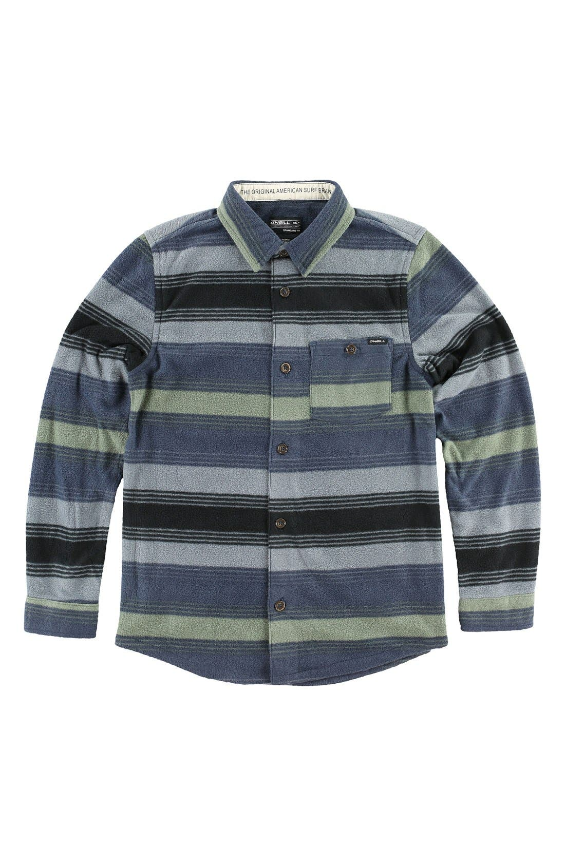 'Glacier Stripe' Fleece Shirt, Main, color, 068