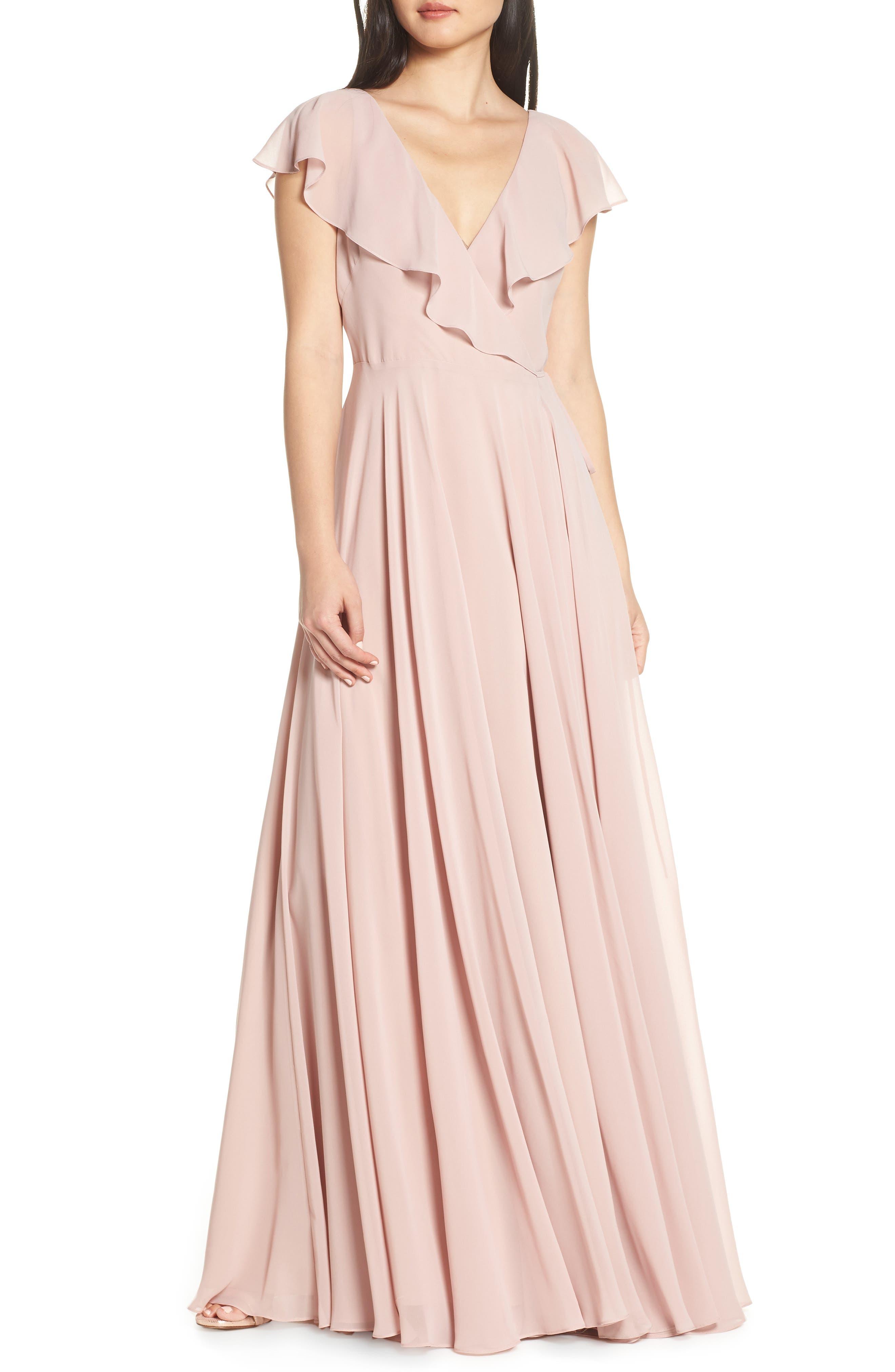 Jenny Yoo Faye Ruffle Wrap Chiffon Evening Dress, Pink