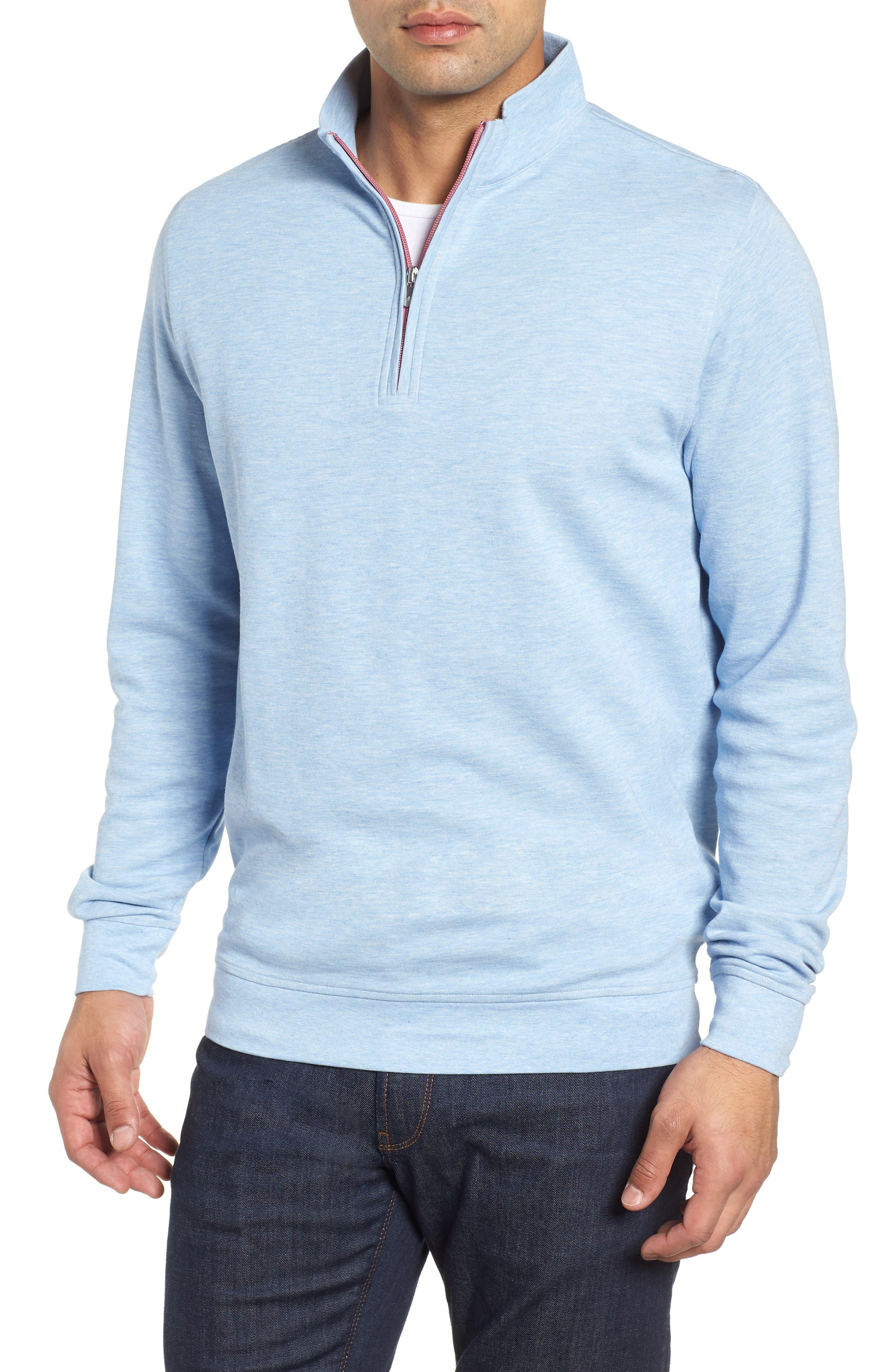 Crown Comfort Jersey Quarter Zip Pullover,                             Main thumbnail 1, color,                             COTTAGE BLUE