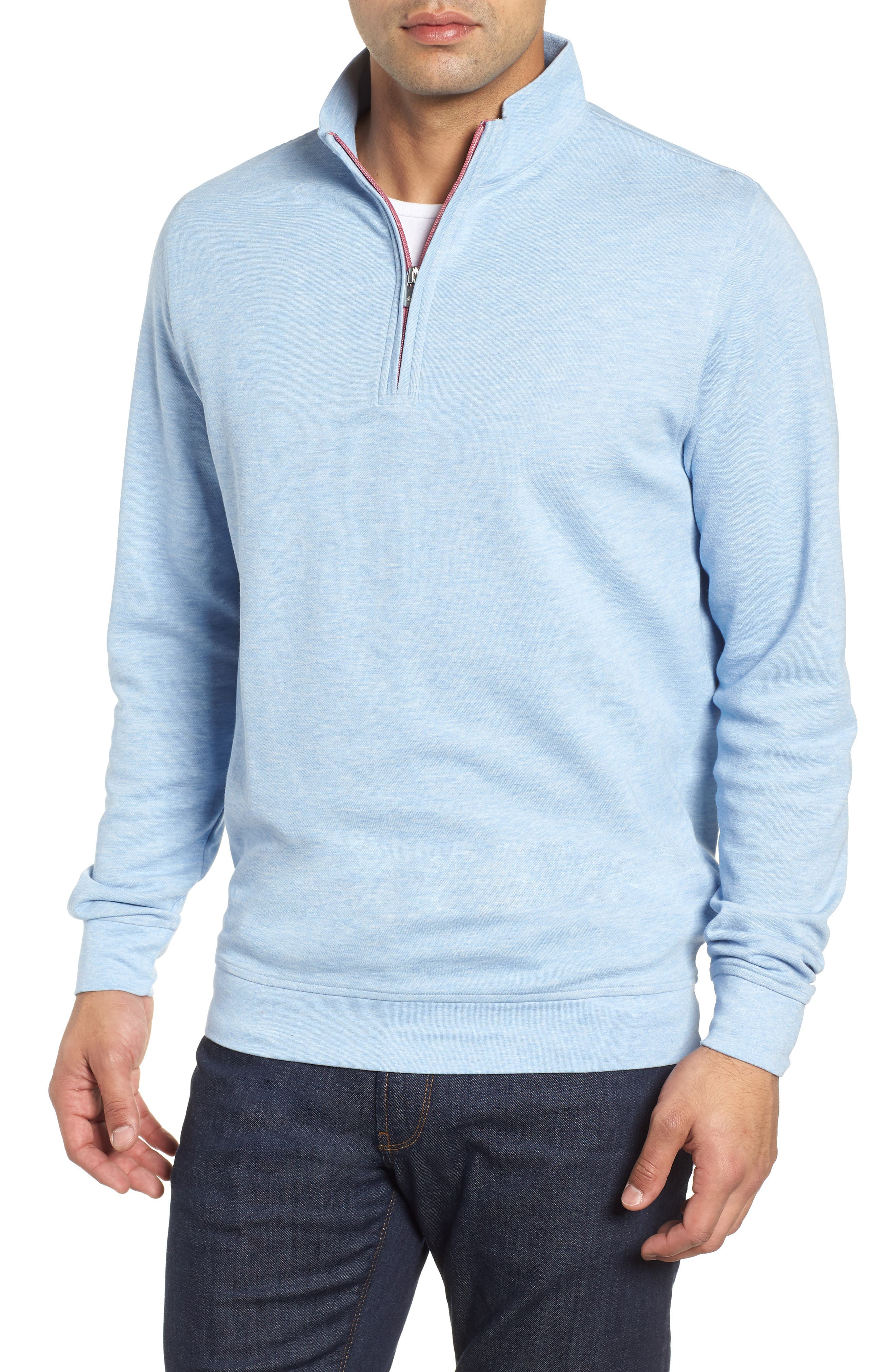 Crown Comfort Jersey Quarter Zip Pullover,                         Main,                         color, COTTAGE BLUE