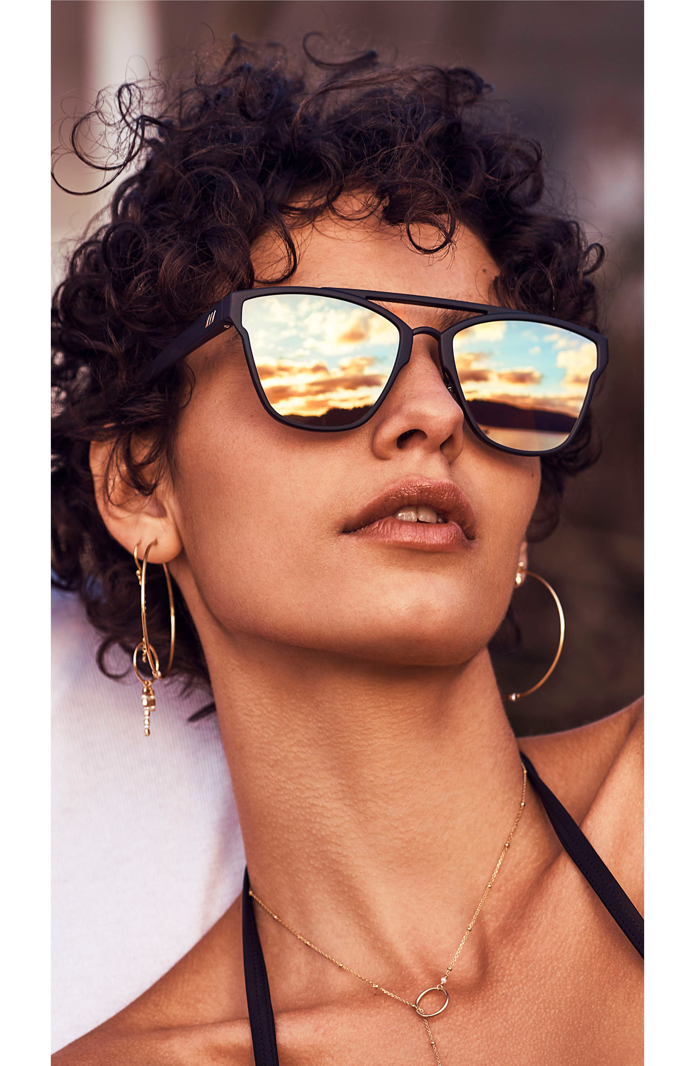 LE SPECS,                             Herstory 55mm Aviator Sunglasses,                             Alternate thumbnail 4, color,                             001