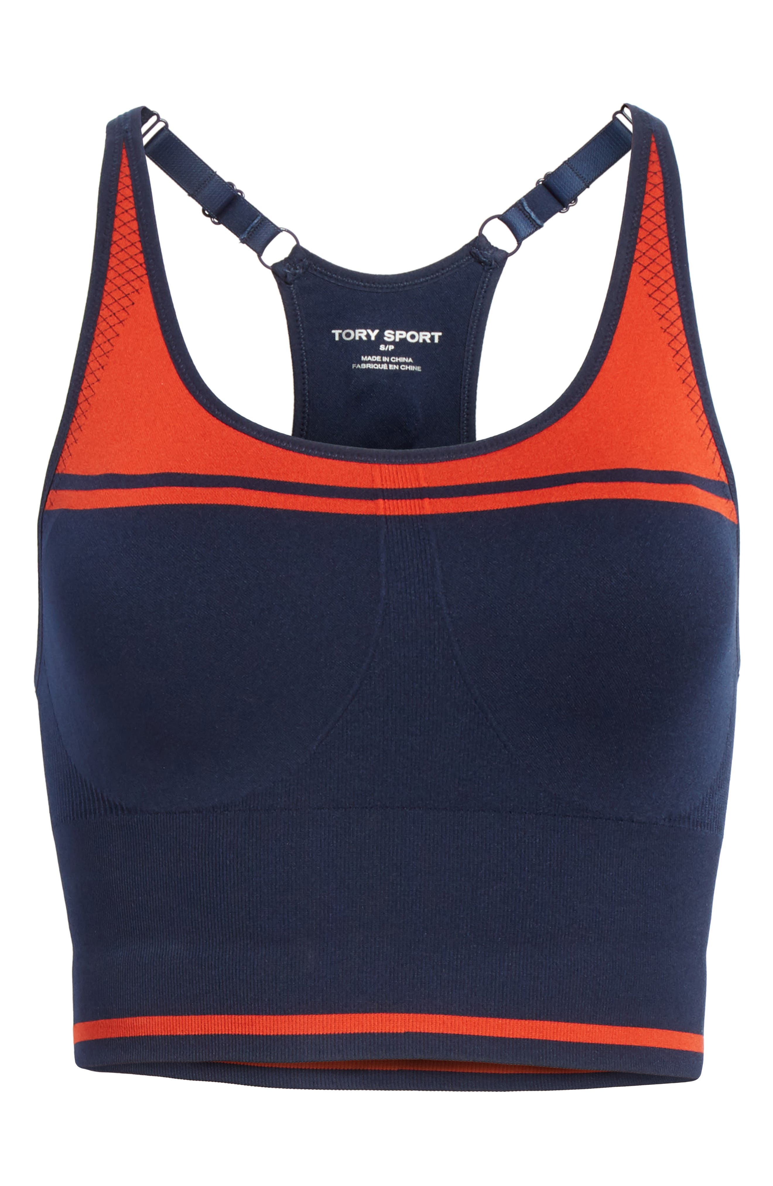 Two-Tone Seamless Camisole Long Bra,                             Alternate thumbnail 7, color,                             TORY NAVY/ RED
