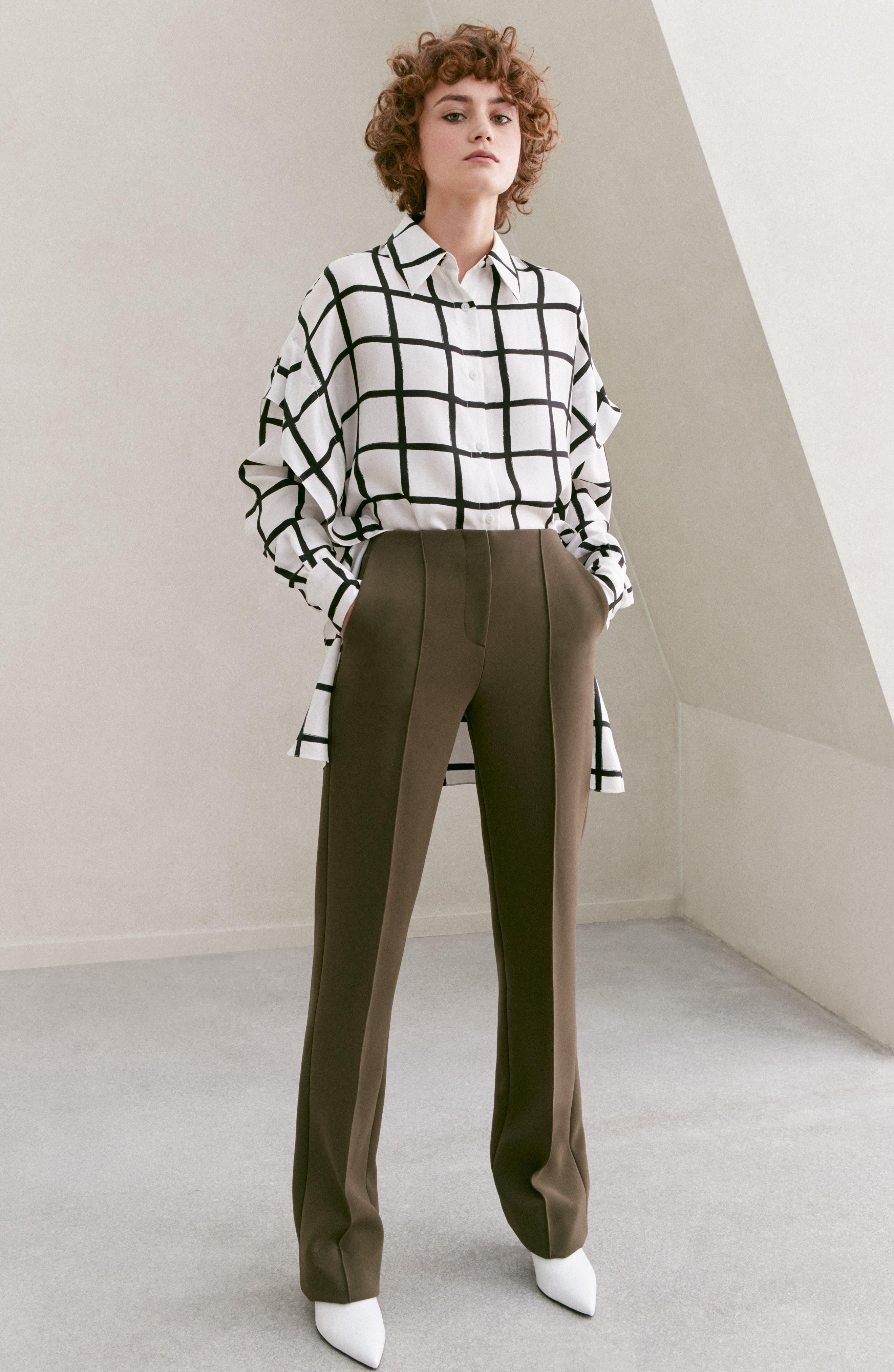 Diane von Furstenberg Windowpane Plaid Button Down Silk Shirt,                             Alternate thumbnail 8, color,                             178