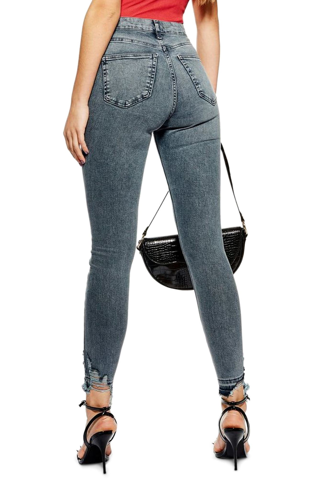 TOPSHOP,                             Jamie Ripped Moto Jeans,                             Alternate thumbnail 2, color,                             GREY