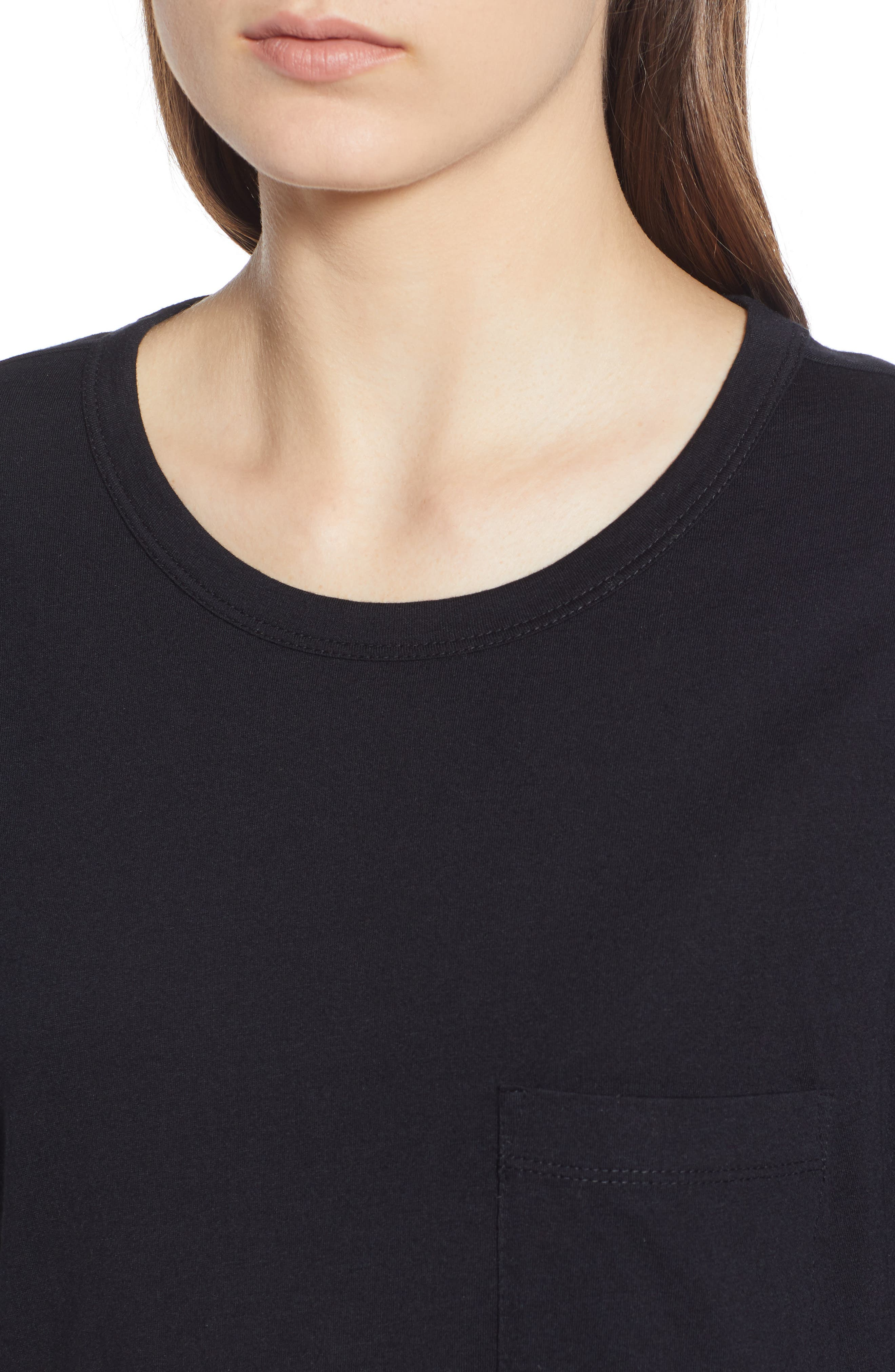 Slouch Pocket Tee,                             Alternate thumbnail 4, color,                             BLACK