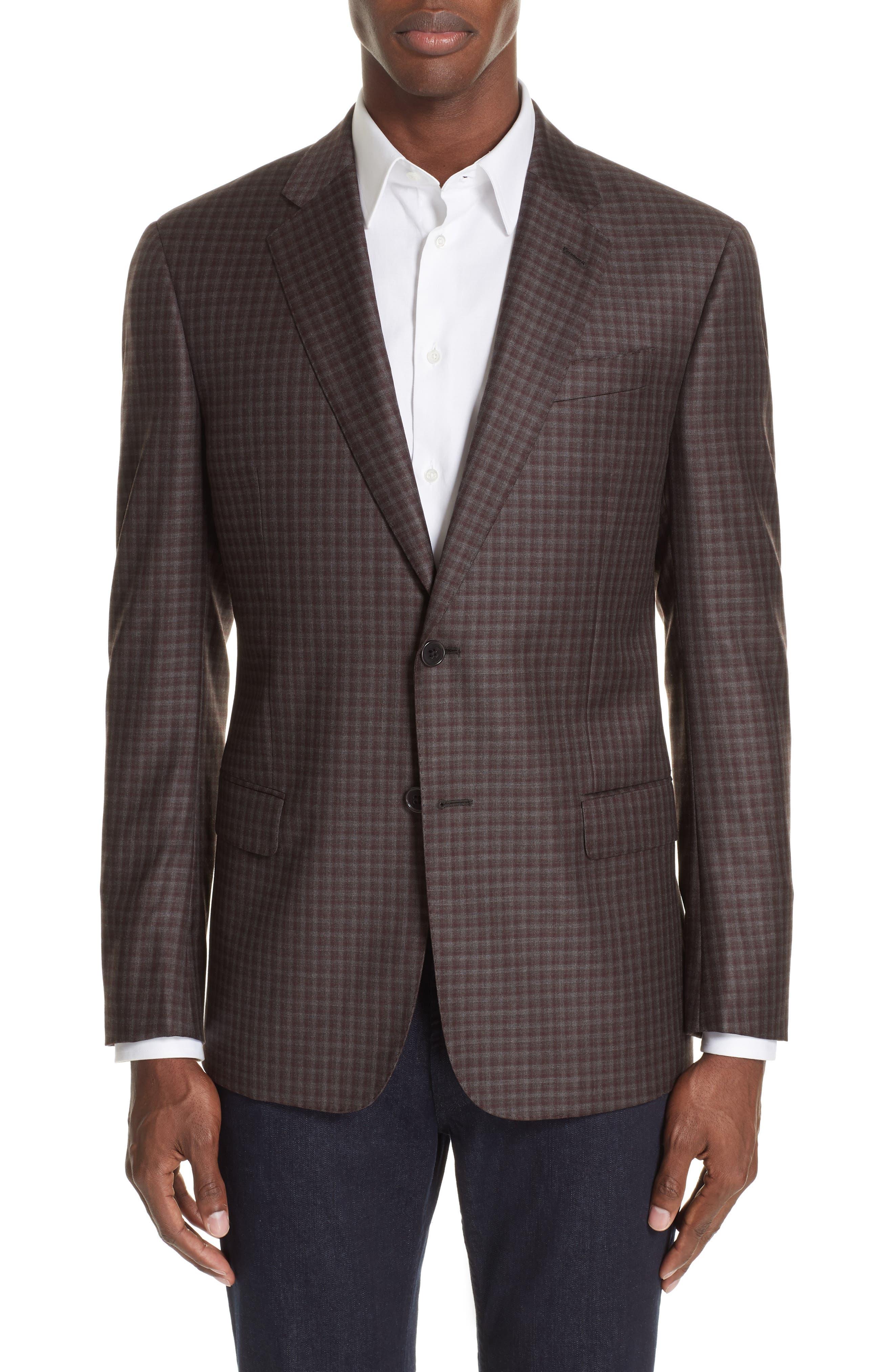 G-Line Trim Fit Plaid Wool Sport Coat,                         Main,                         color, RED/ BROWN