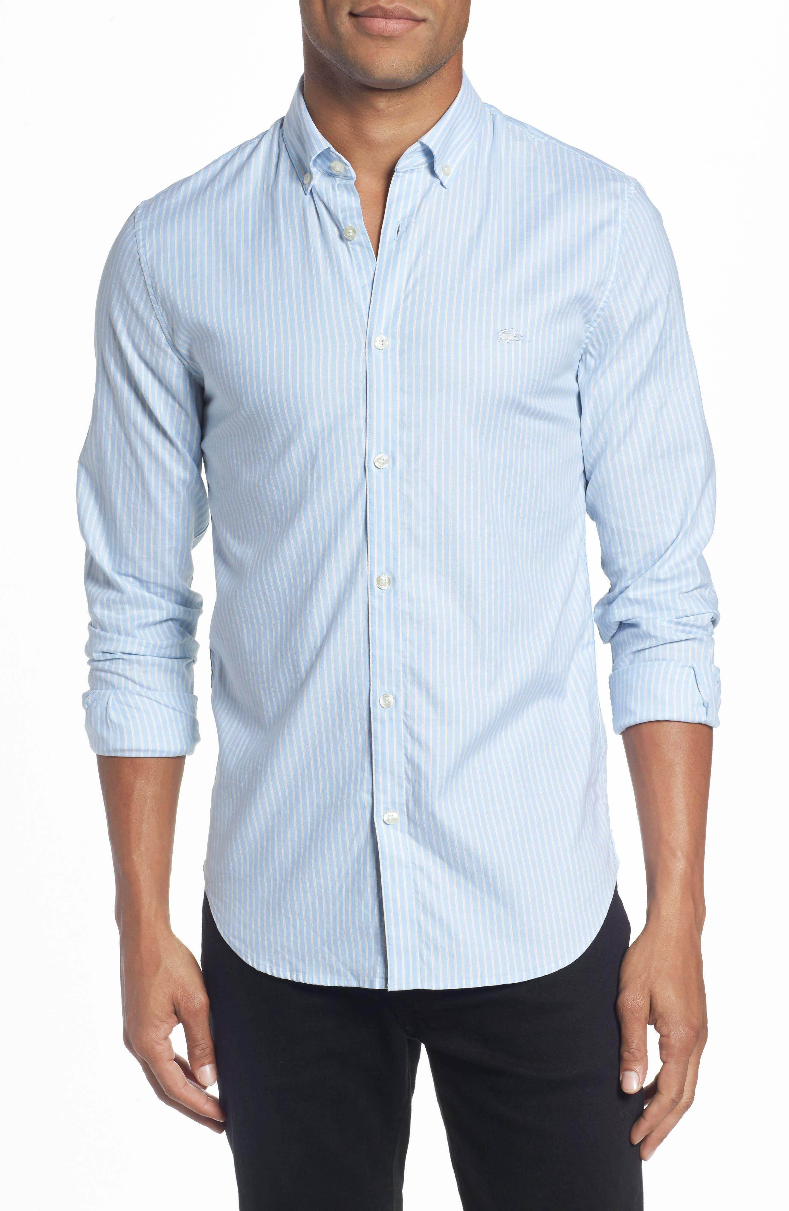 LACOSTE,                             Slim Fit Stripe Shirt,                             Main thumbnail 1, color,                             436