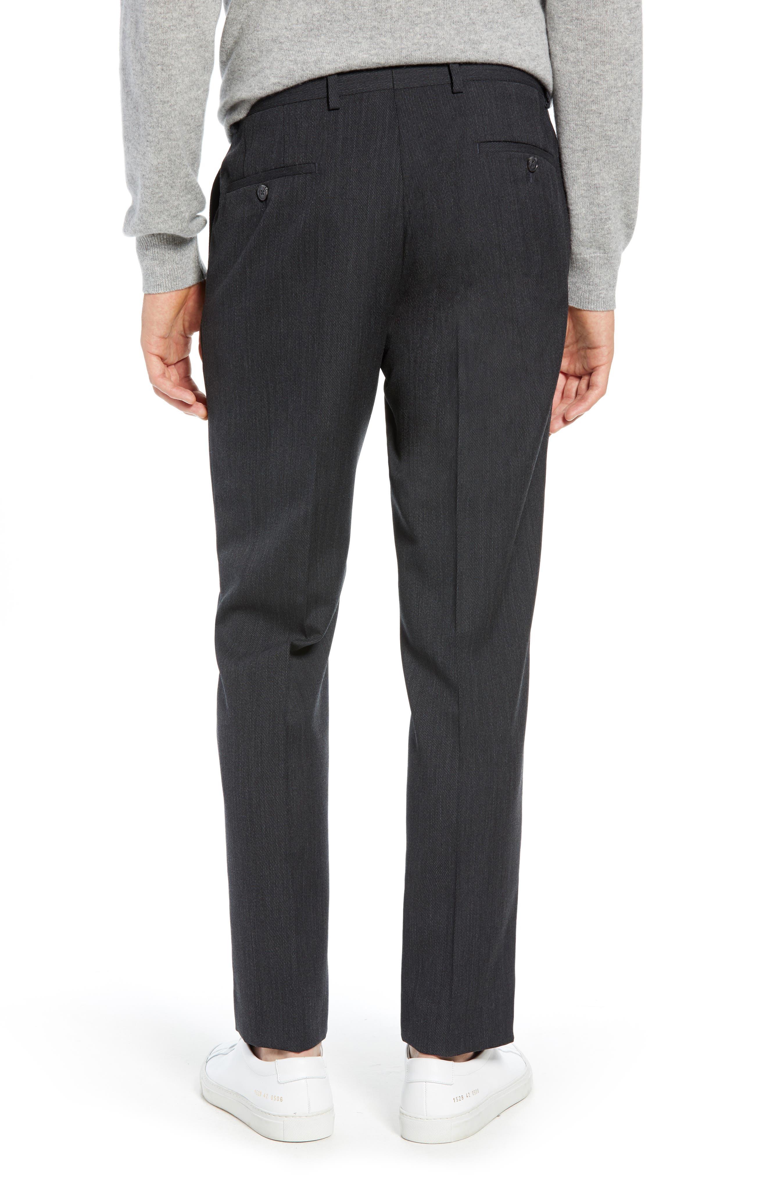 Trim Fit Flat Front Wool Blend Pants,                             Alternate thumbnail 2, color,                             021