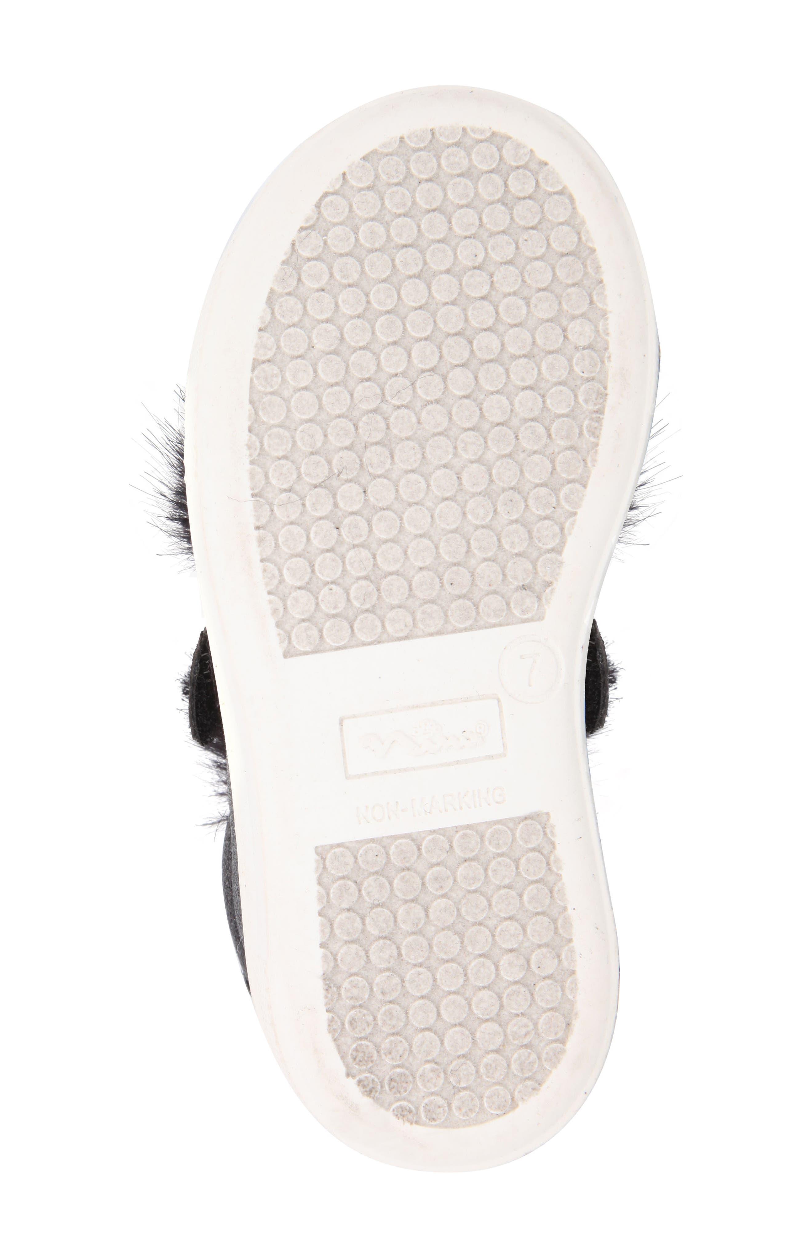 Sunshine Glittery Faux Fur Sneaker,                             Alternate thumbnail 6, color,                             008