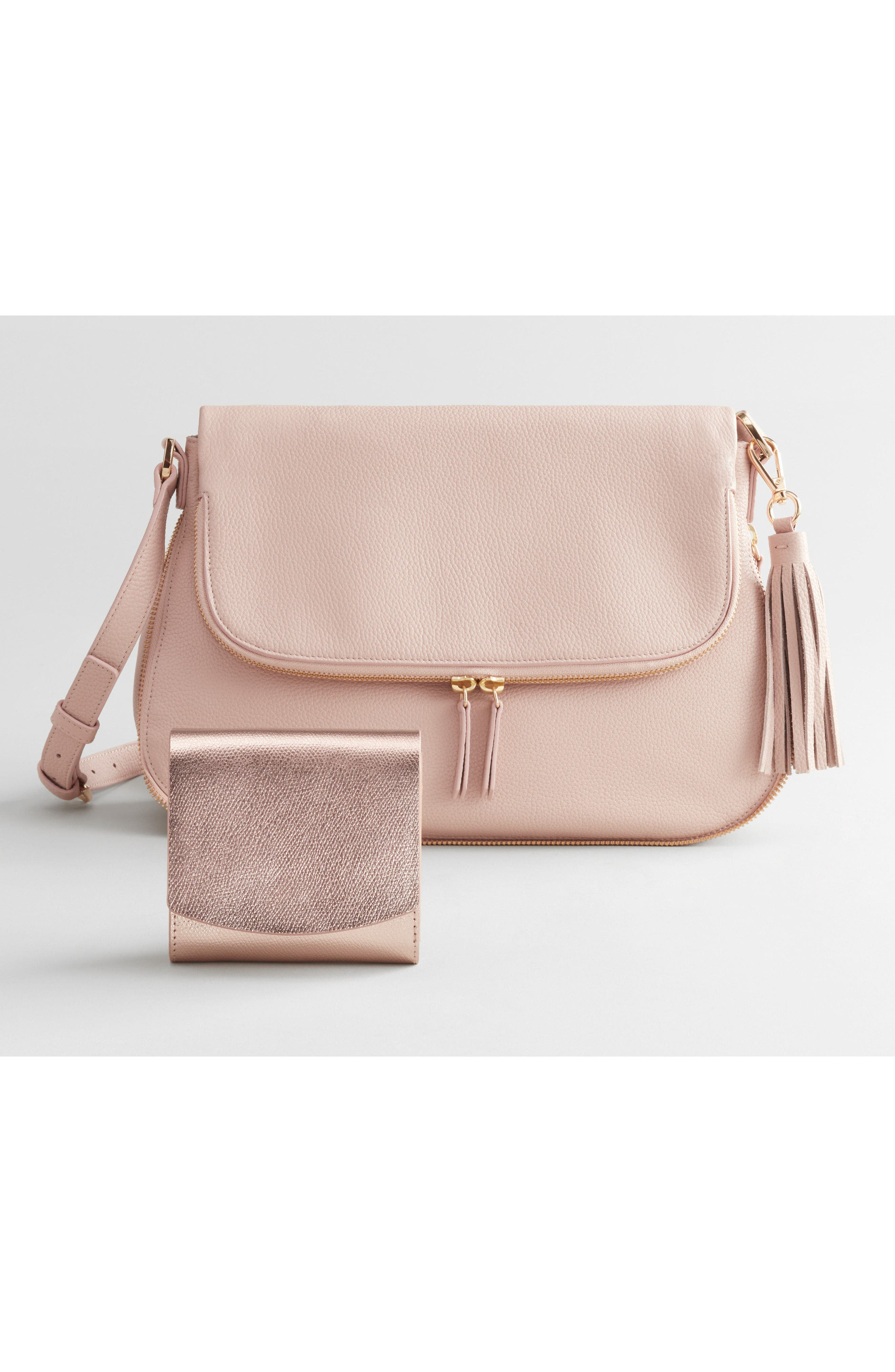 Kara Leather Expandable Crossbody Bag,                             Alternate thumbnail 9, color,                             PINK ROSECLOUD