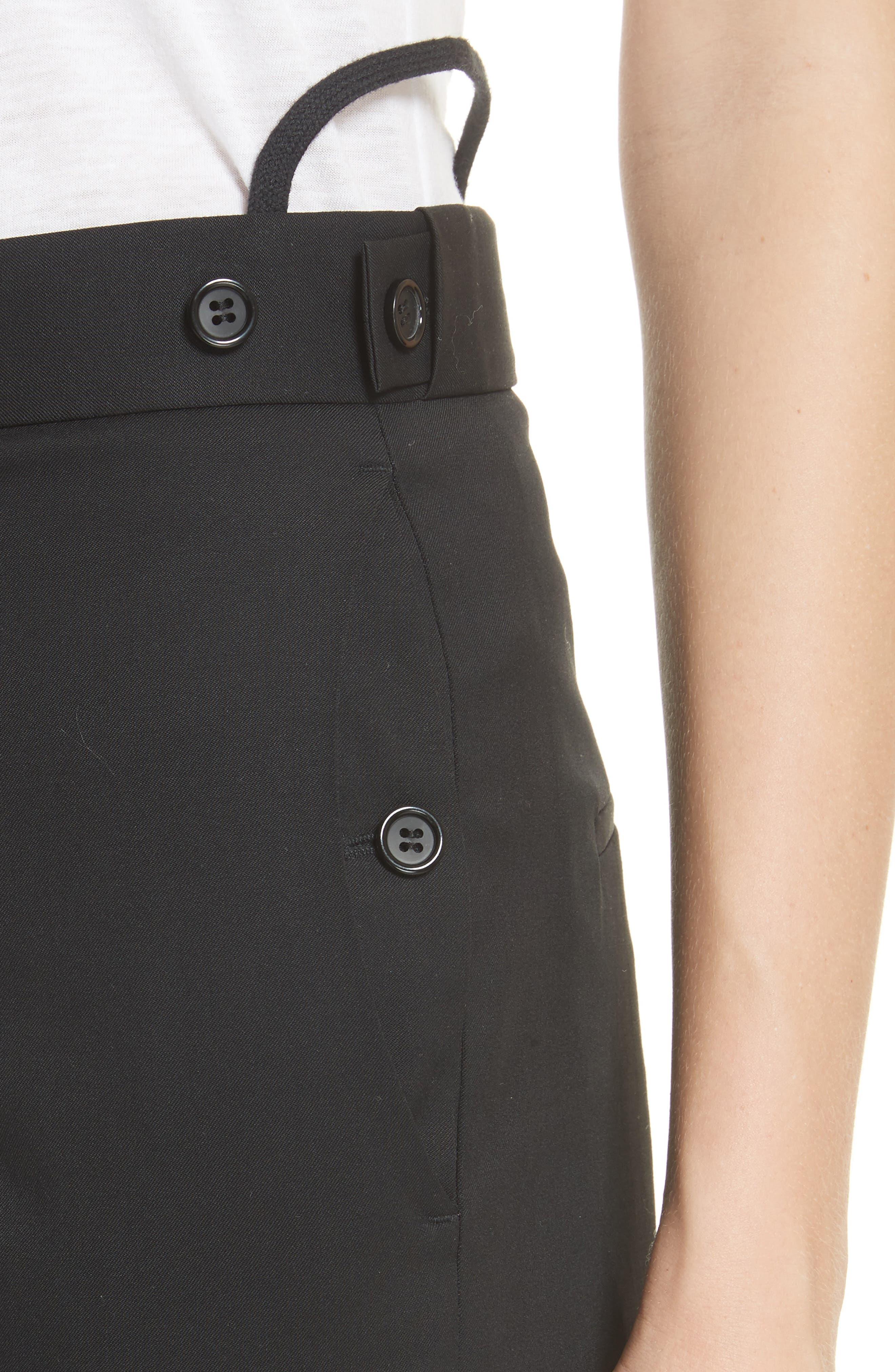 Straight Leg Wool Trousers,                             Alternate thumbnail 4, color,                             001