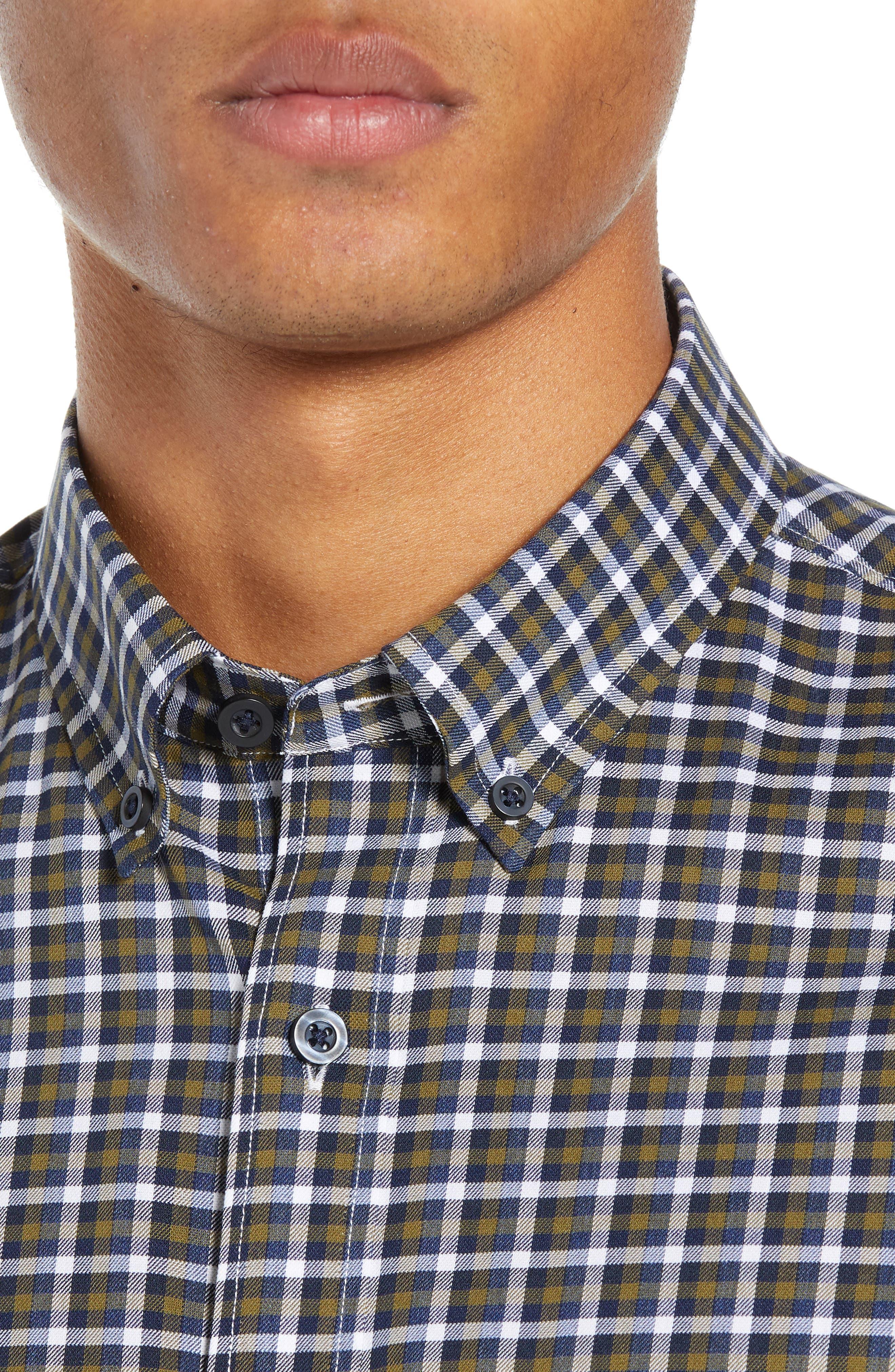 Tech-Smart Slim Fit Check Sport Shirt,                             Alternate thumbnail 2, color,                             NAVY NIGHT OLIVE CHECK