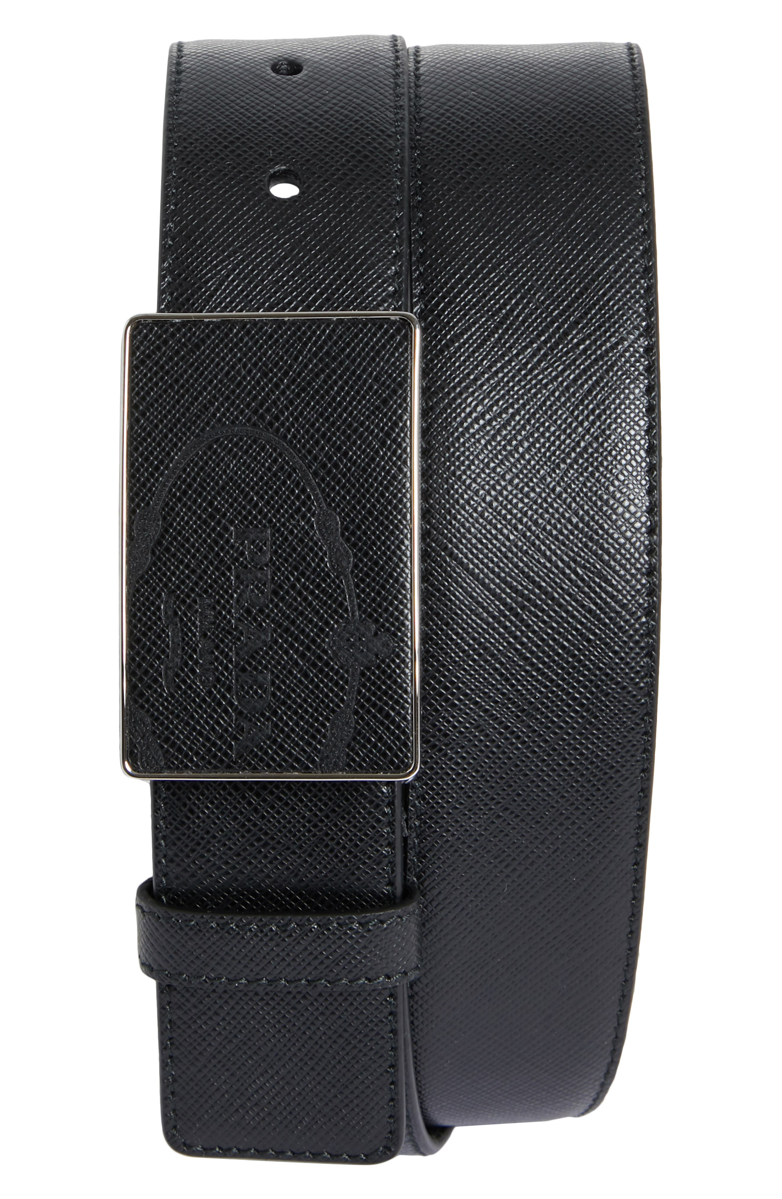 Saffiano Plaque Leather Belt, Main, color, NERO