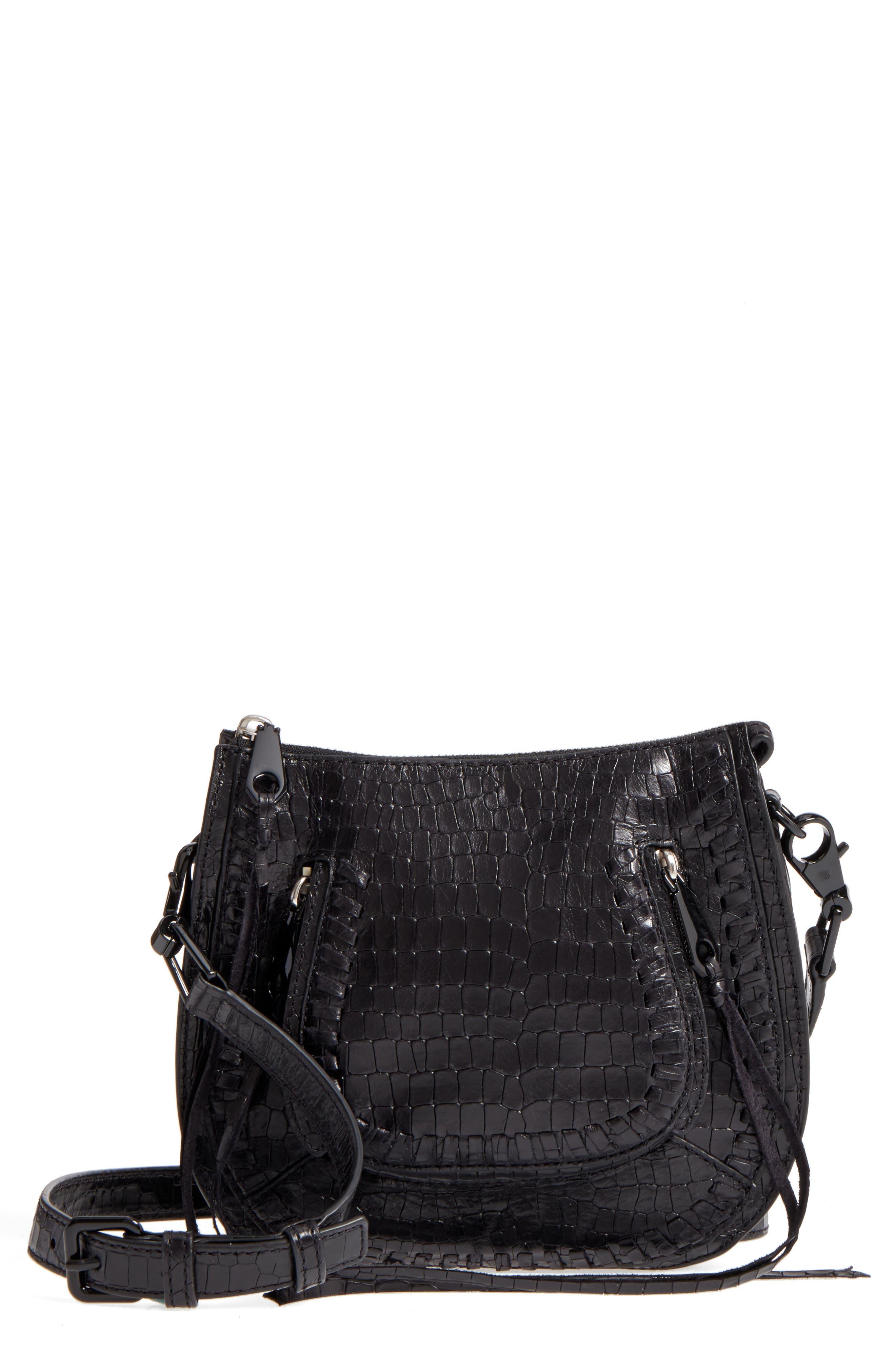 Vanity Croc-Embossed Leather Saddle Bag,                             Main thumbnail 1, color,