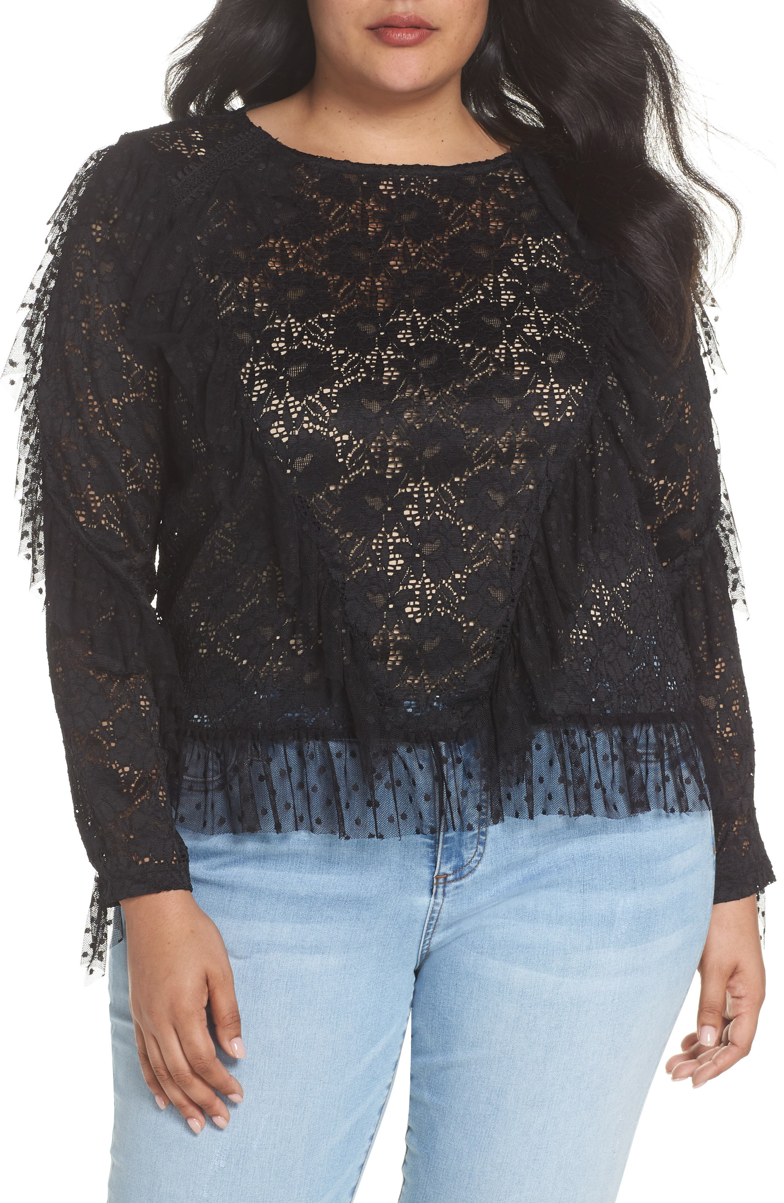 LOST INK Ruffle Trim Lace Top, Main, color, 001