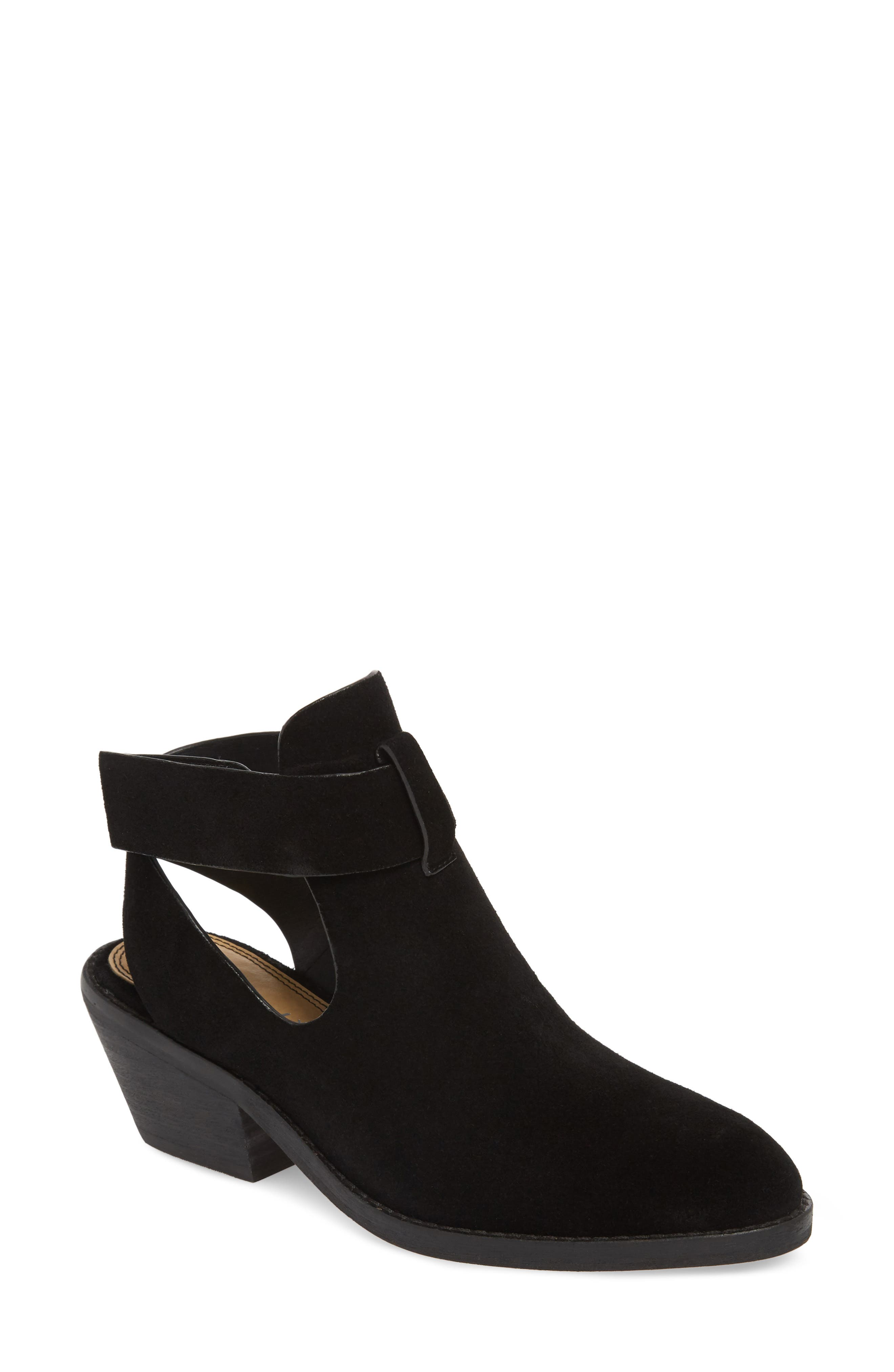 Cadell Bootie,                             Main thumbnail 1, color,                             BLACK SUEDE