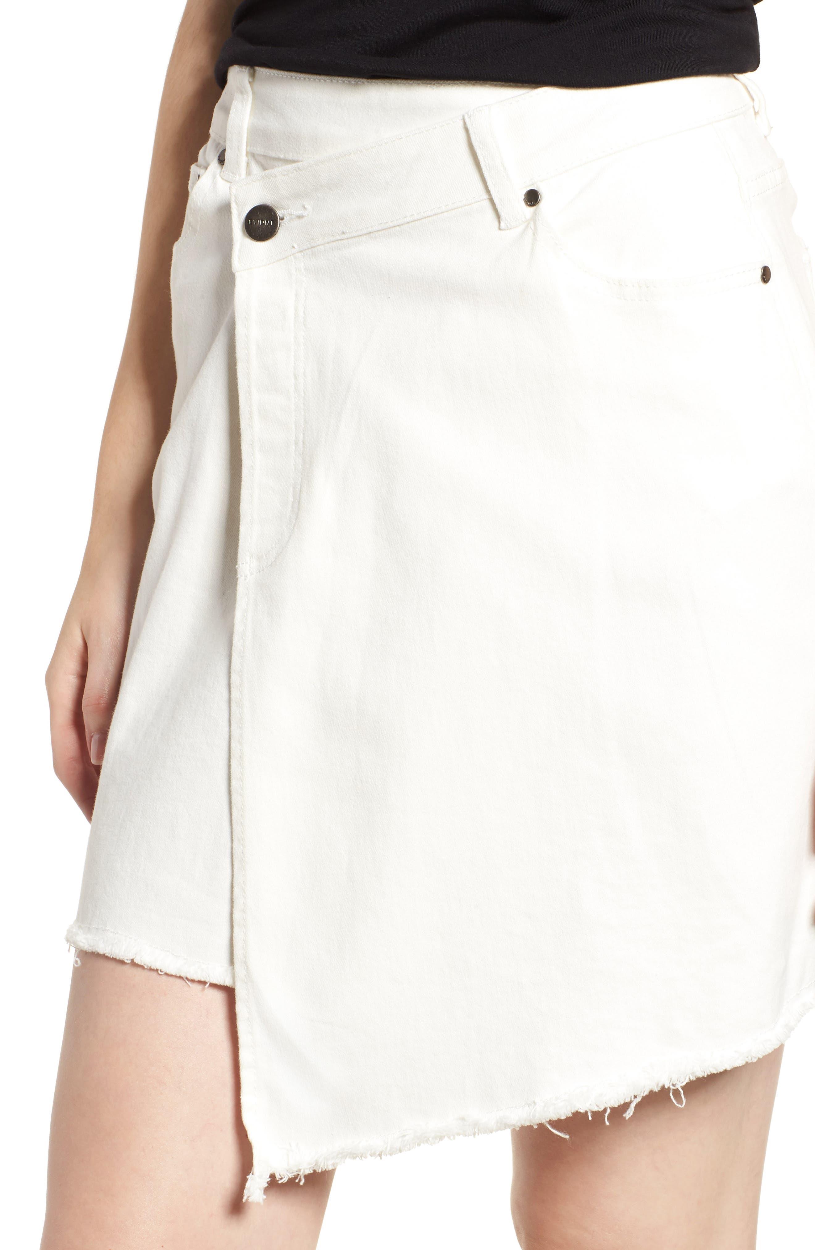 Asymmetrical Denim Skirt,                             Alternate thumbnail 4, color,                             100