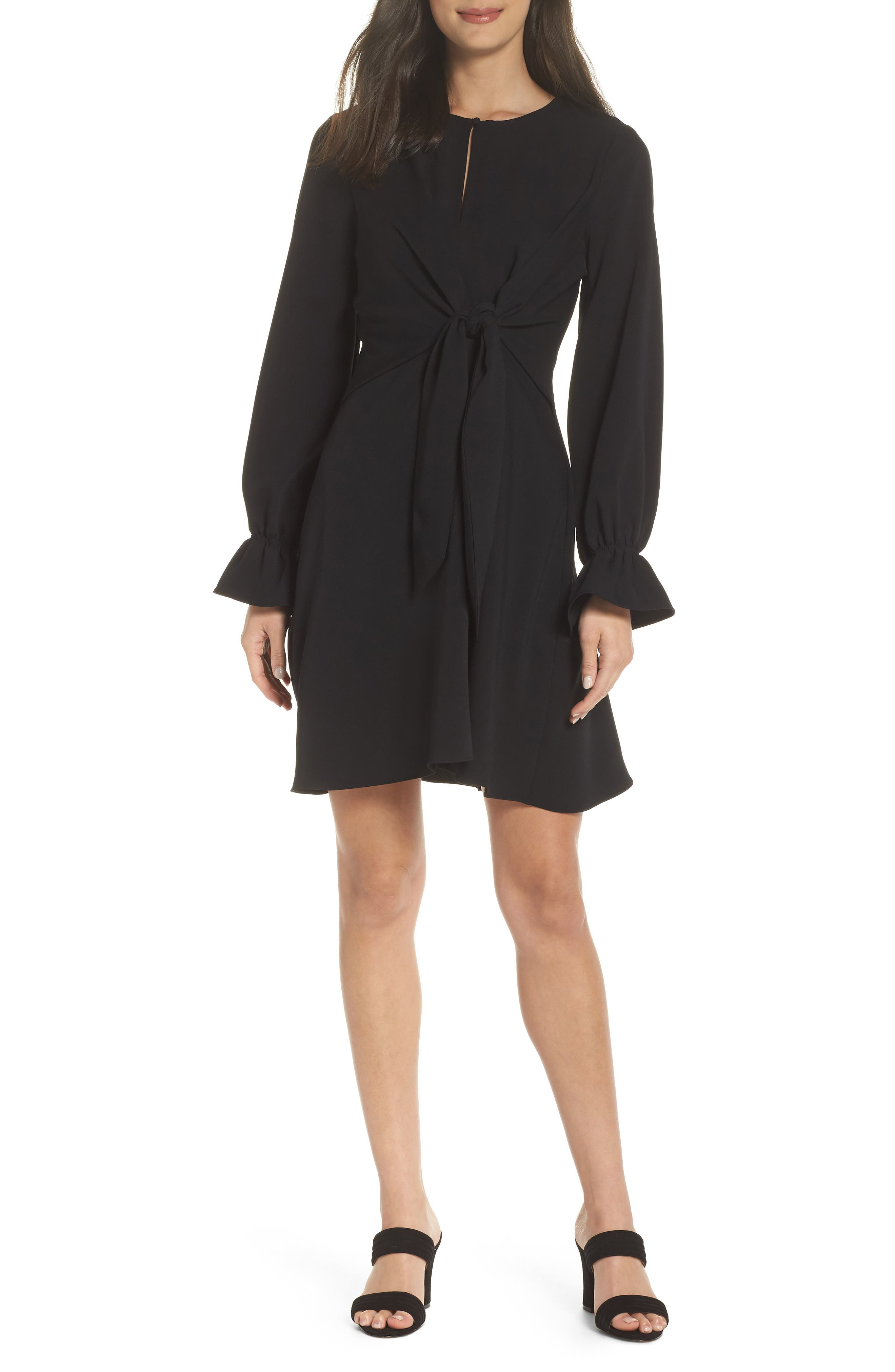 Sam Edelman Tie Knot Fit & Flare Dress, Black