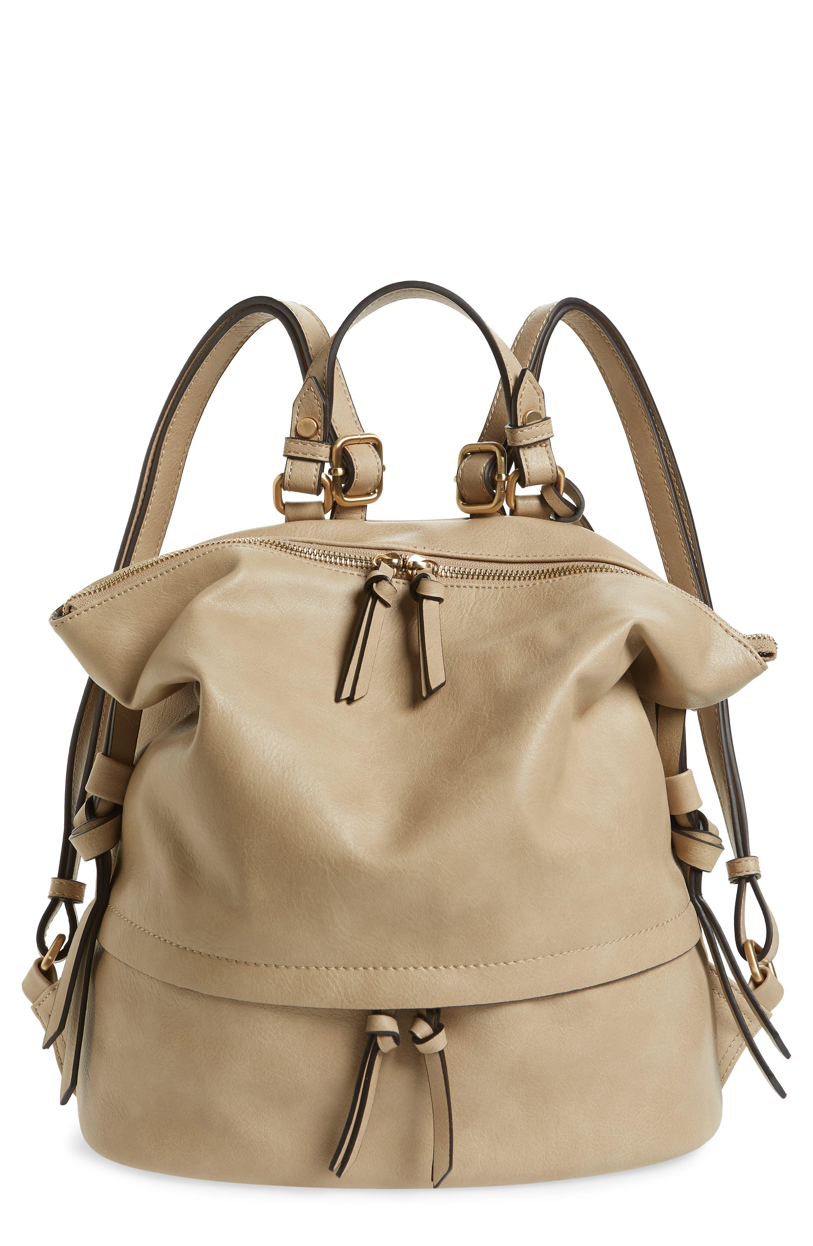 Josah Faux Leather Backpack,                             Main thumbnail 1, color,                             SAFARI