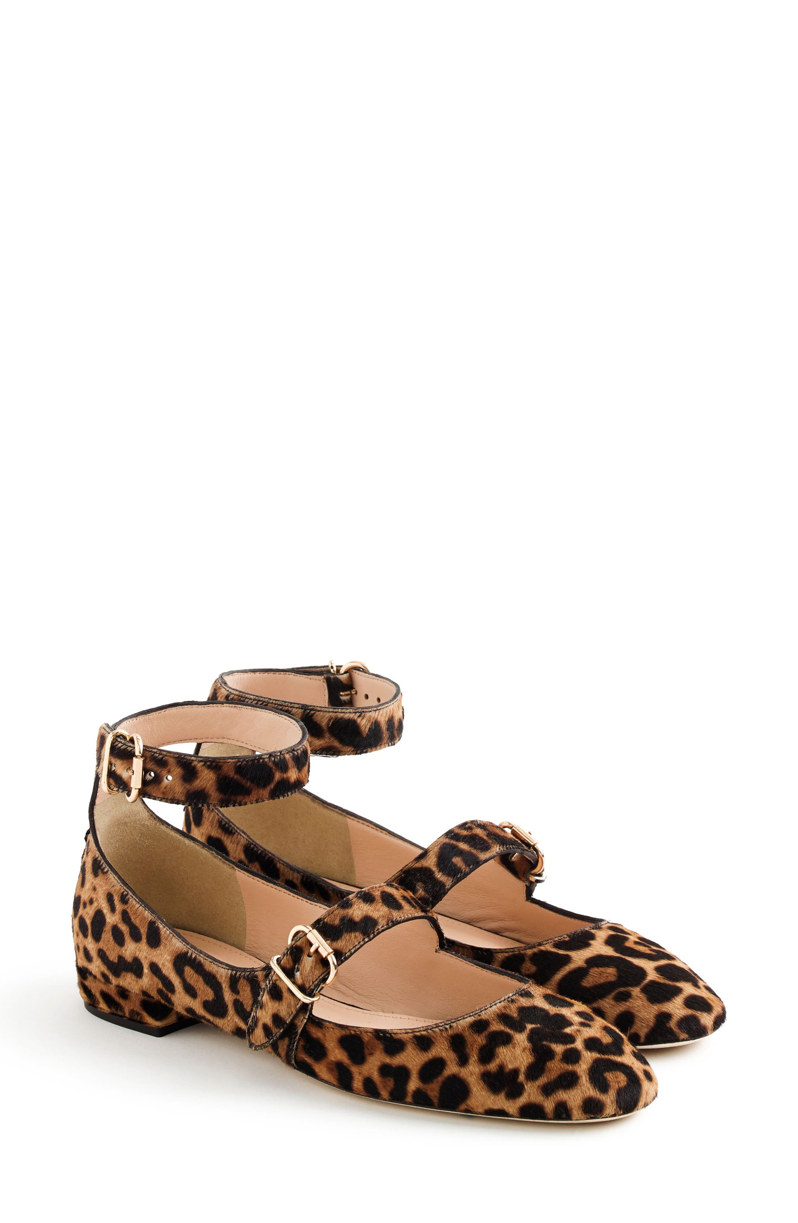 Foster Ankle Strap Genuine Calf Hair Flat,                         Main,                         color, 200