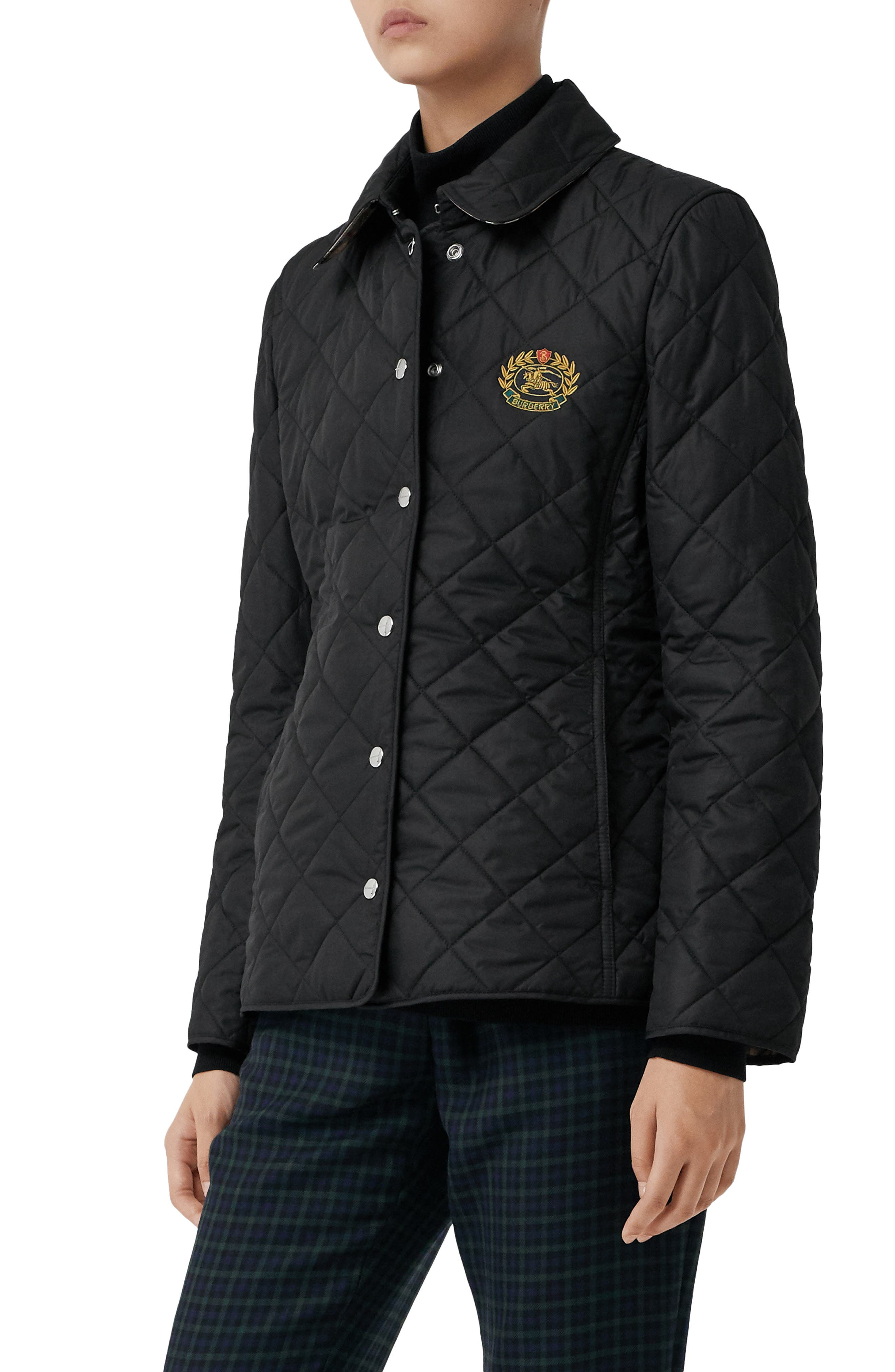 Franwell Diamond Quilted Jacket,                             Alternate thumbnail 3, color,                             BLACK