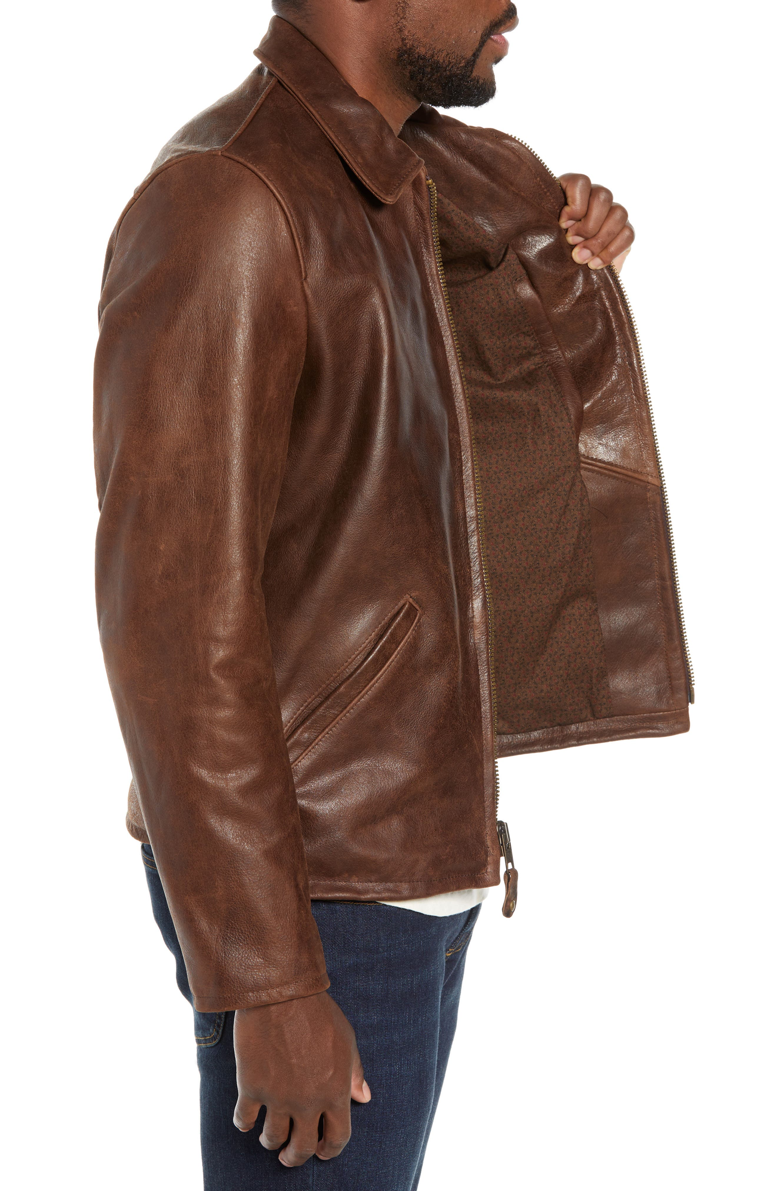 Waxy Naked Buffalo Leather Delivery Jacket,                             Alternate thumbnail 3, color,                             200