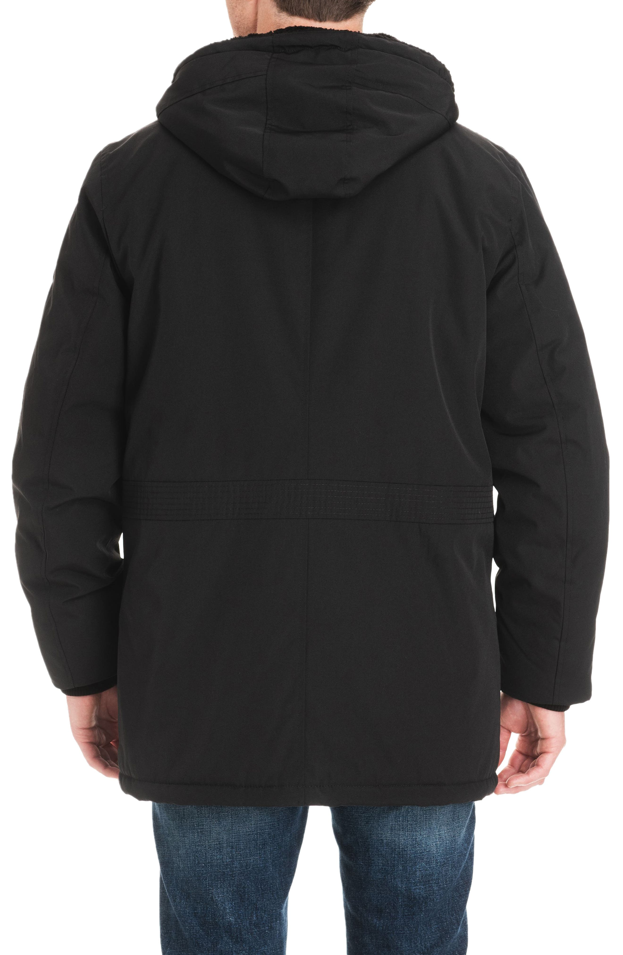 Lafayette Water Resistant Coat with Faux Shearling Lining,                             Alternate thumbnail 2, color,                             BLACK
