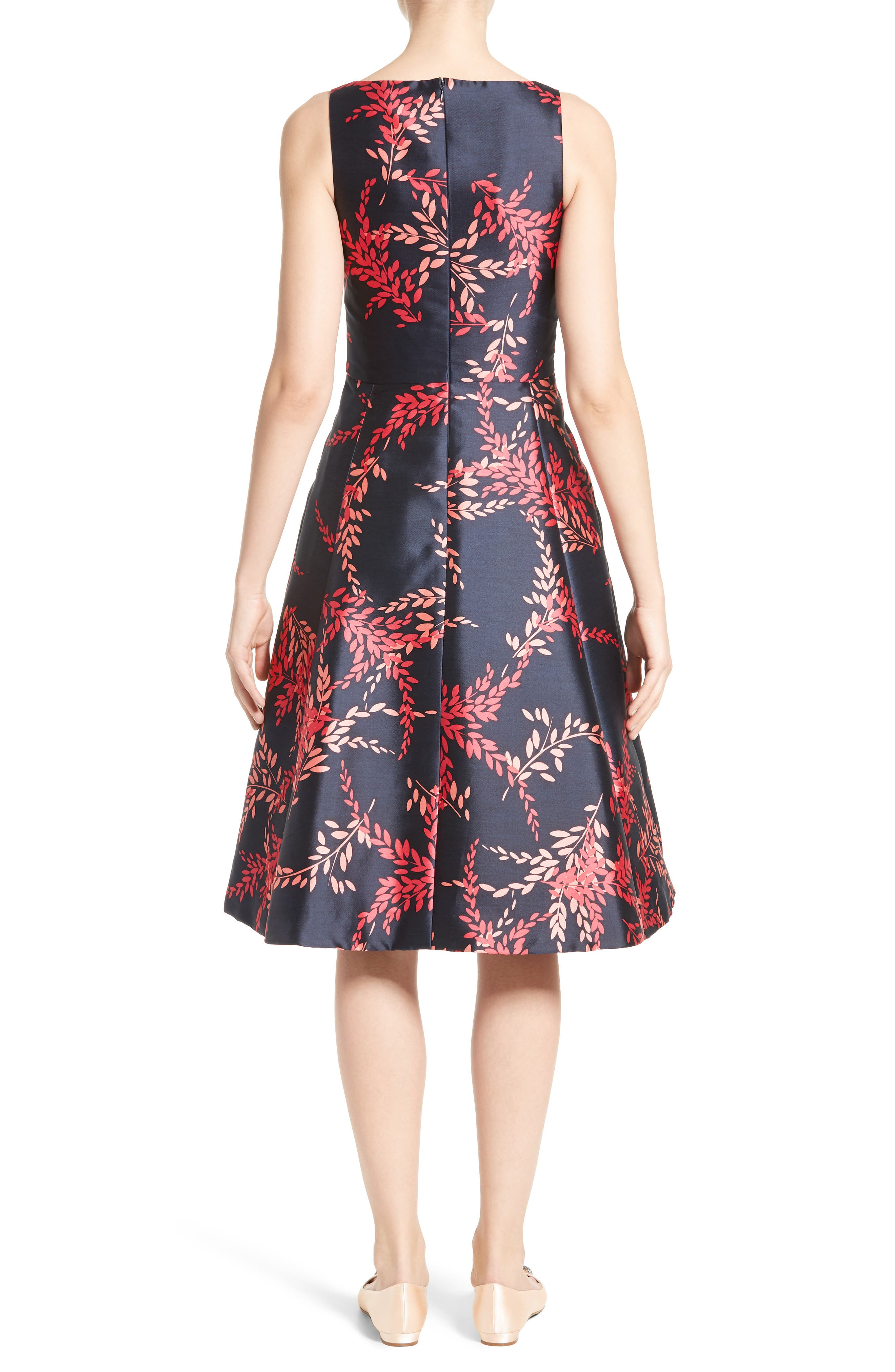 Leaf Print Silk & Cotton Dress,                             Alternate thumbnail 2, color,                             415