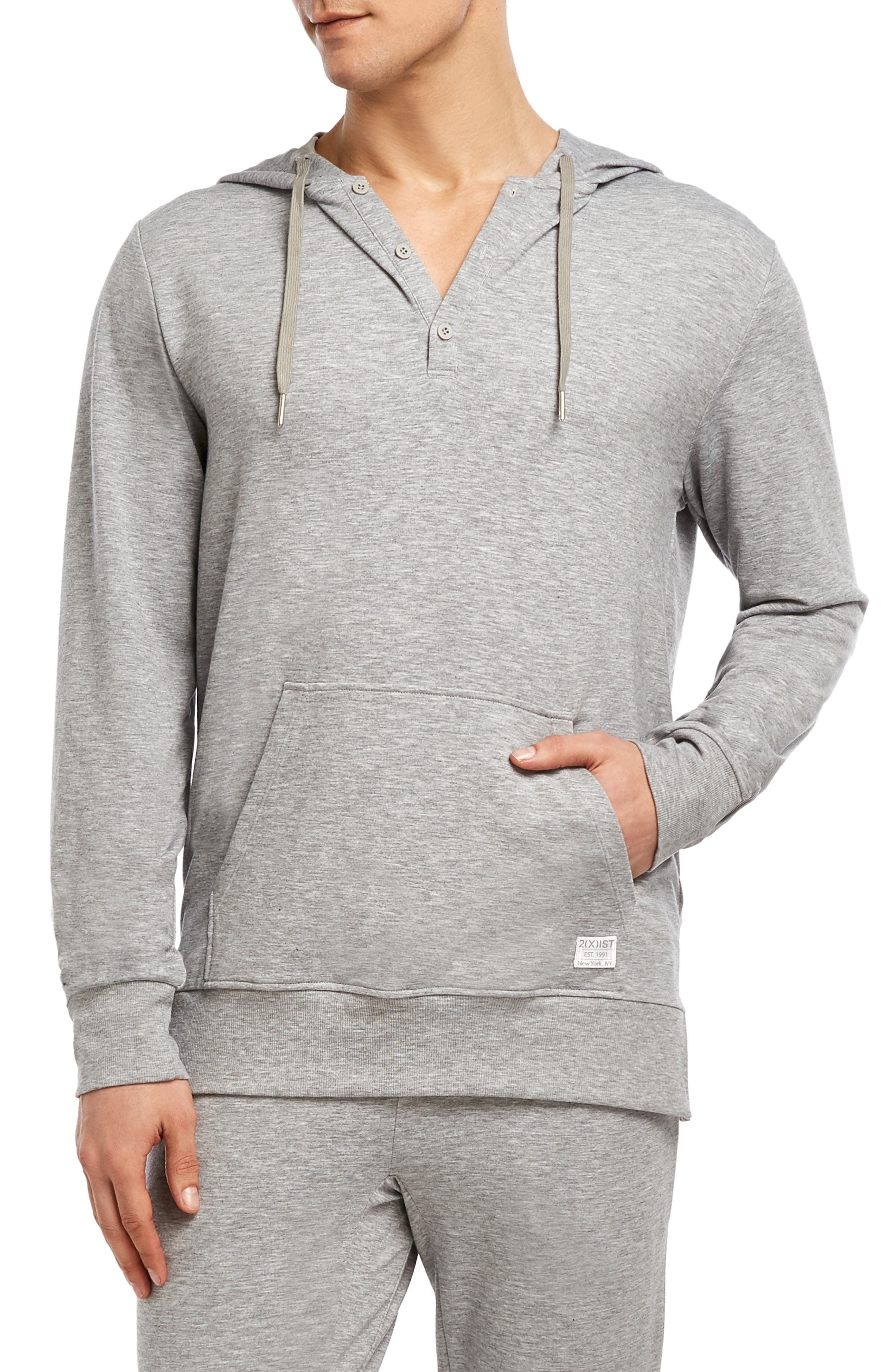 Stretch Henley Hoodie,                             Main thumbnail 1, color,                             HEATHER GREY