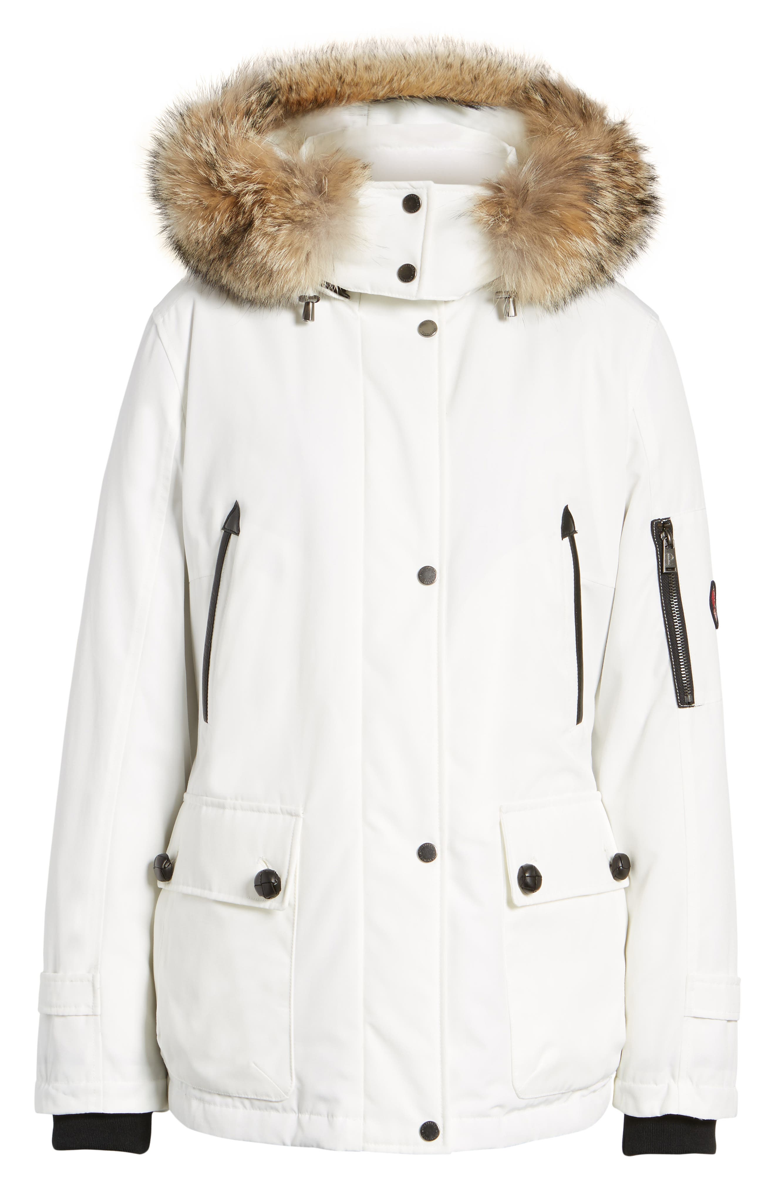 Bachelor Water Repellent Hooded Down Parka with Genuine Coyote Fur Trim,                             Alternate thumbnail 18, color,