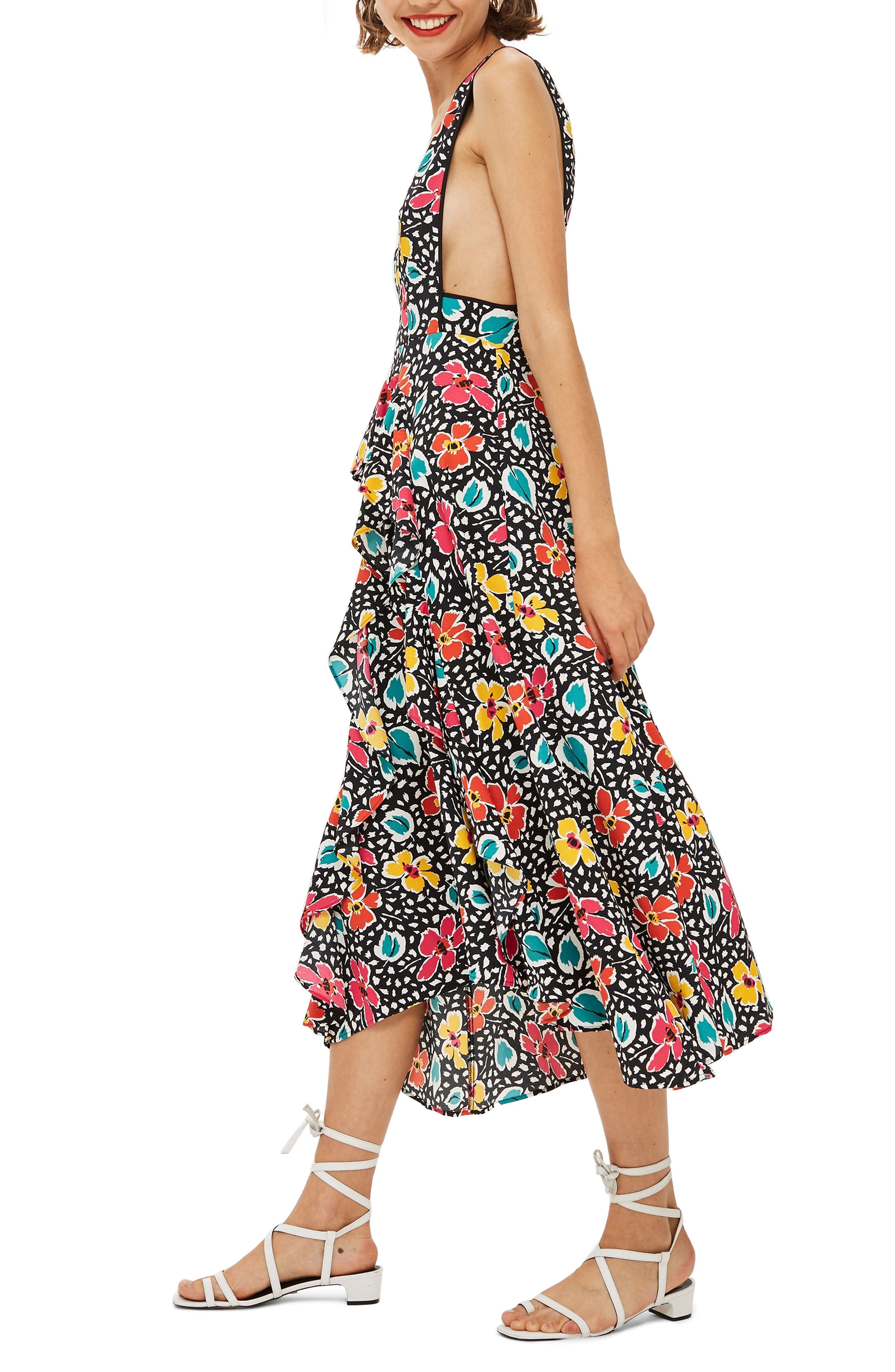 Pinafore Midi Dress,                             Alternate thumbnail 3, color,                             BLACK MULTI
