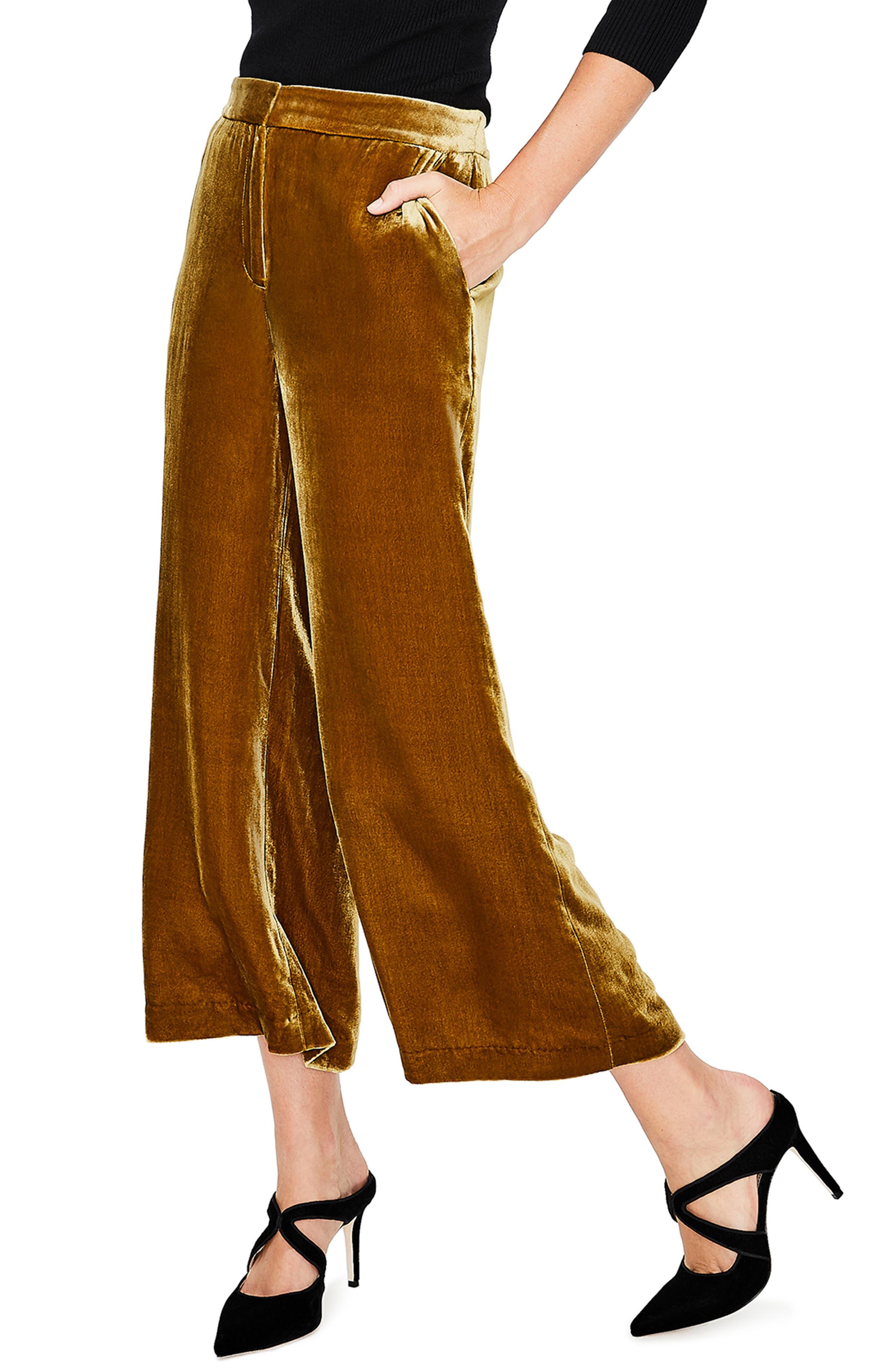 Lyndhurst Velvet Wide Leg Crop Pants,                             Alternate thumbnail 3, color,                             704