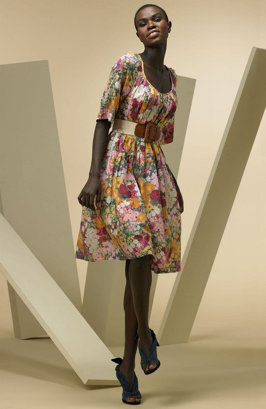 Print Dress with Bell Sleeves,                         Main,                         color, MUL