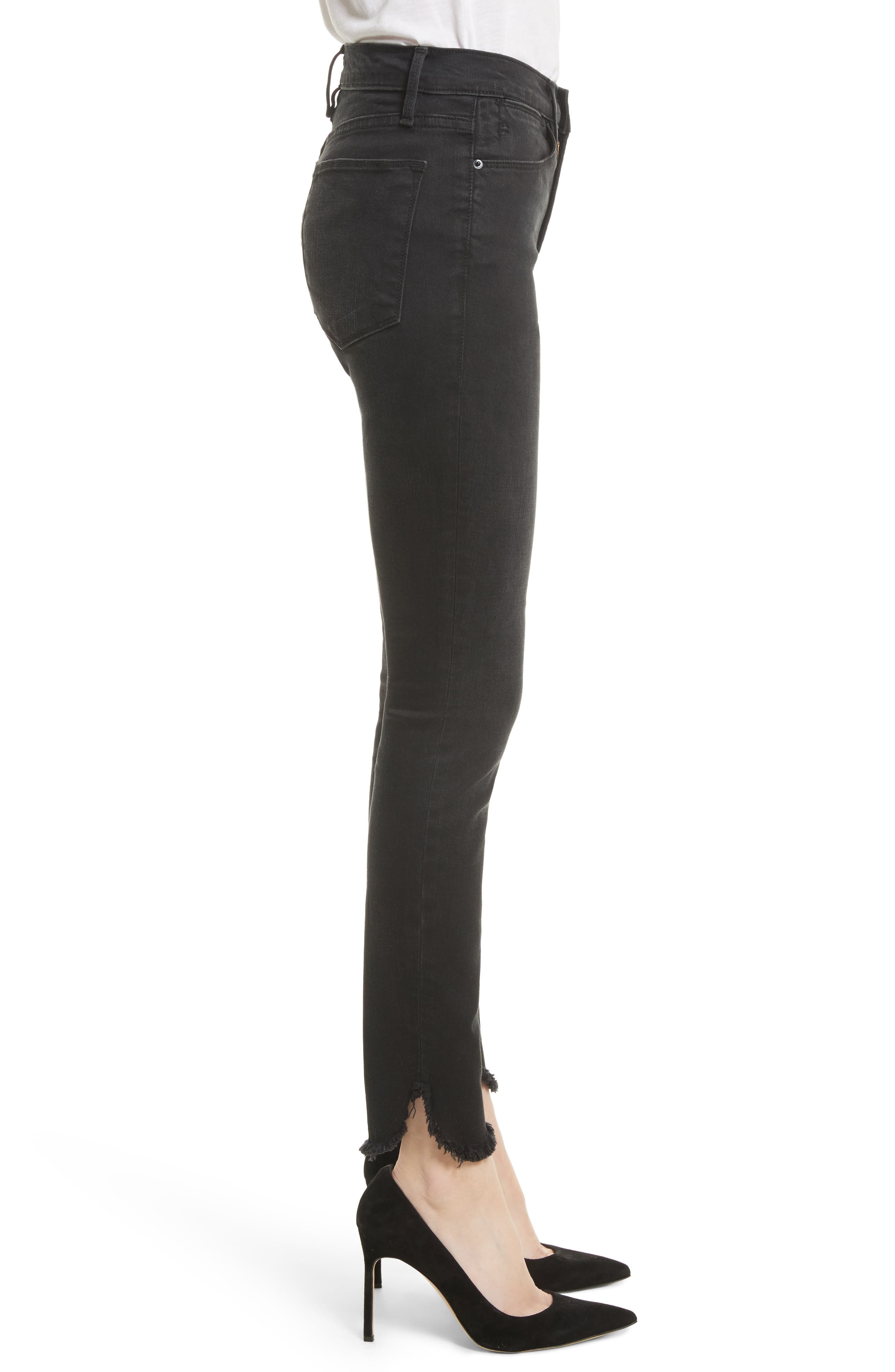 Le High Petal Hem Skinny Jeans,                             Alternate thumbnail 3, color,                             001