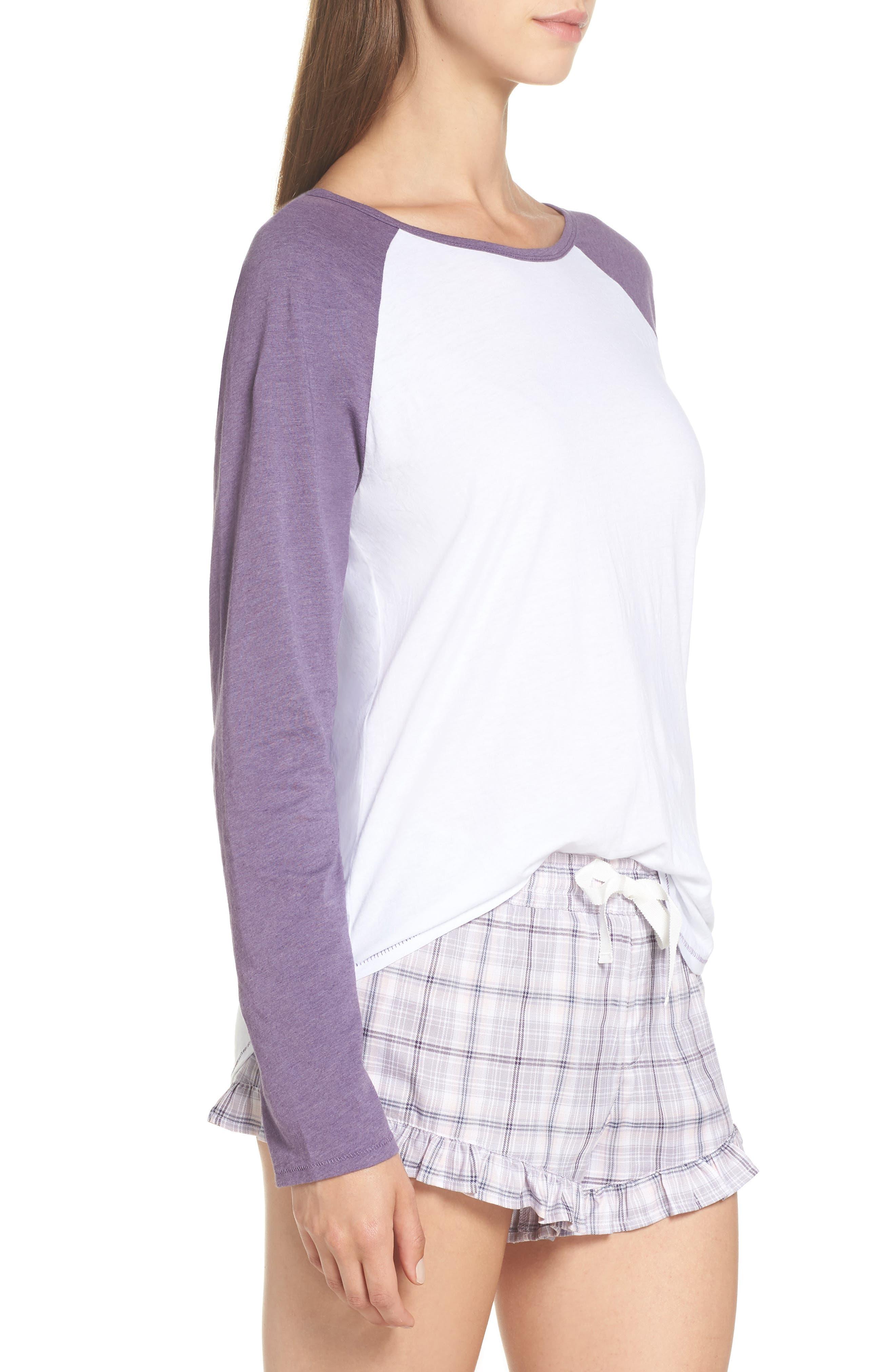 Charly Short Pajamas,                             Alternate thumbnail 3, color,                             LAVENDER AURA PLAID