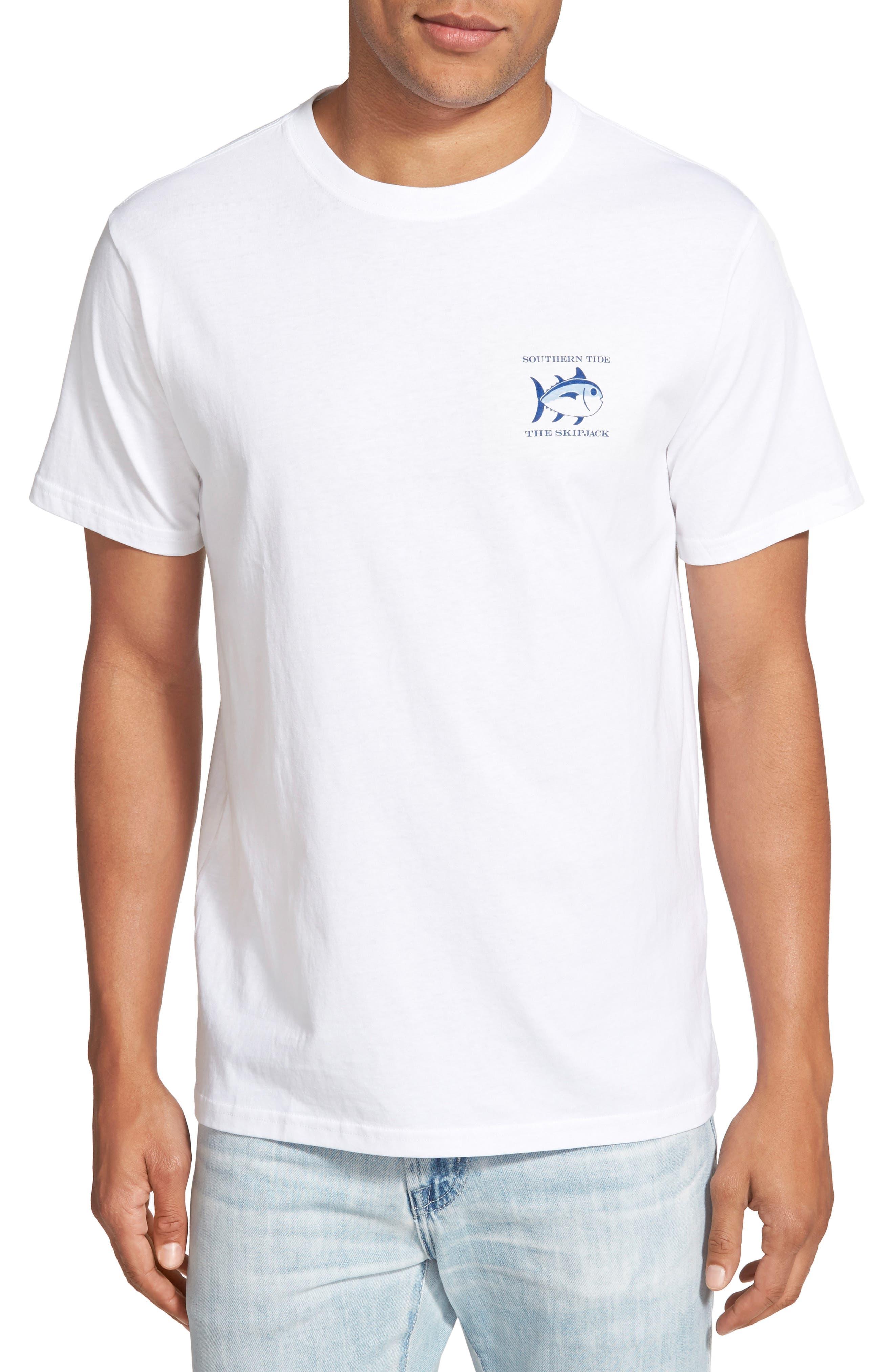 Short Sleeve Skipjack T-Shirt,                         Main,                         color, WHITE