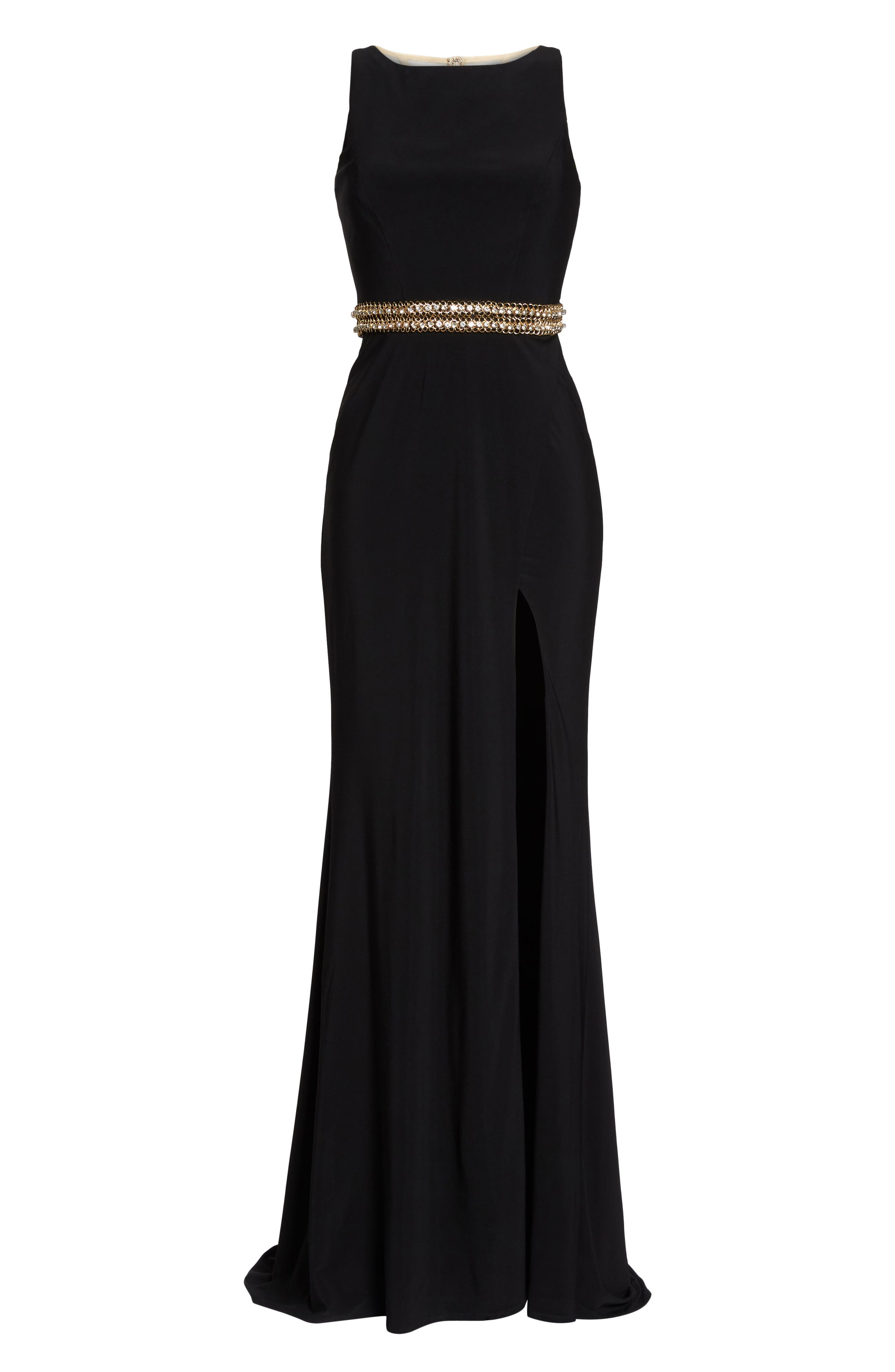 Embellished Waist Gown,                             Alternate thumbnail 6, color,                             BLACK