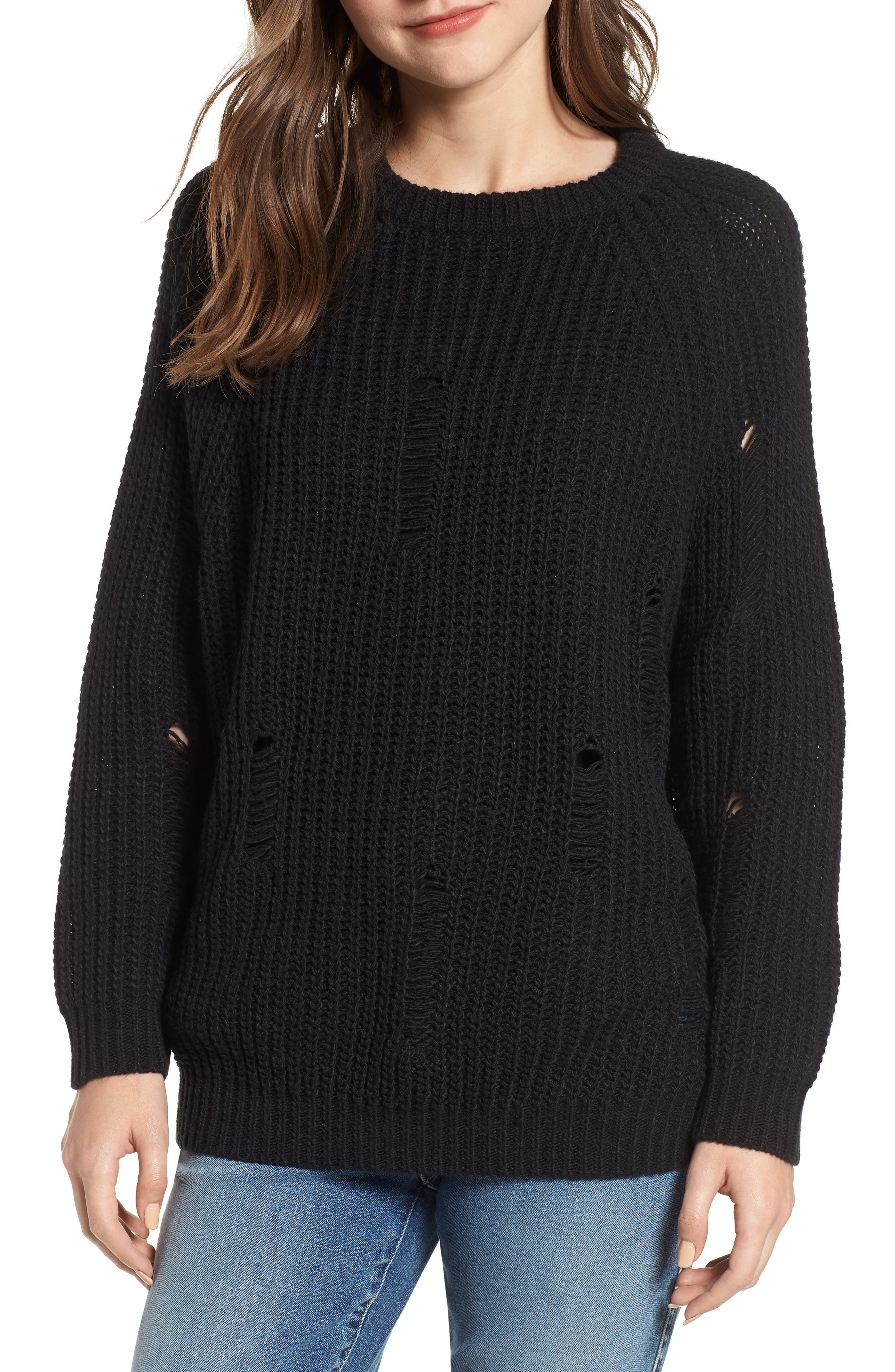 Bishop + Young Simone Distressed Shaker Sweater,                             Main thumbnail 1, color,                             BLACK