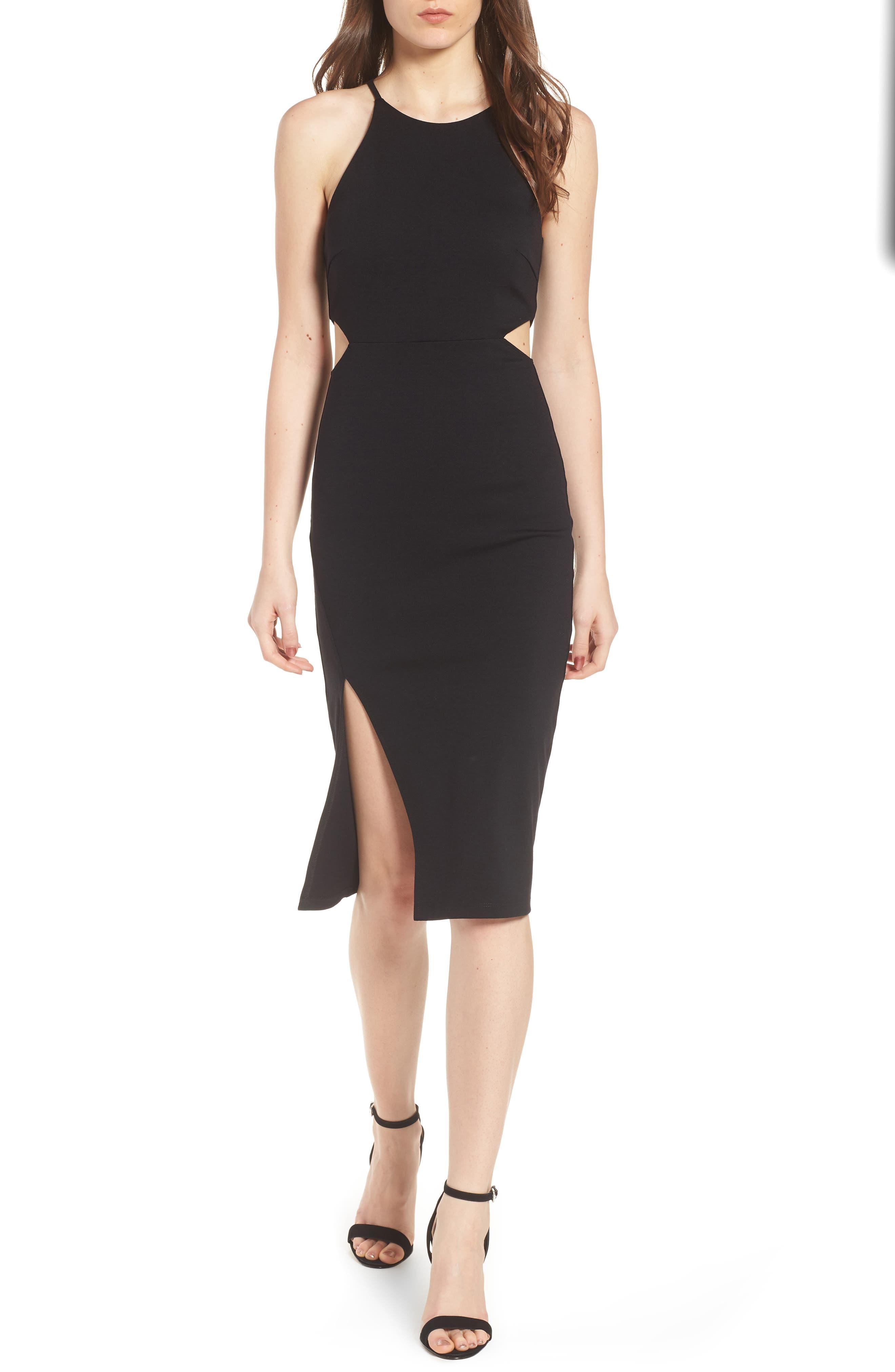 Side Cutout Body Con Dress,                             Alternate thumbnail 5, color,                             001