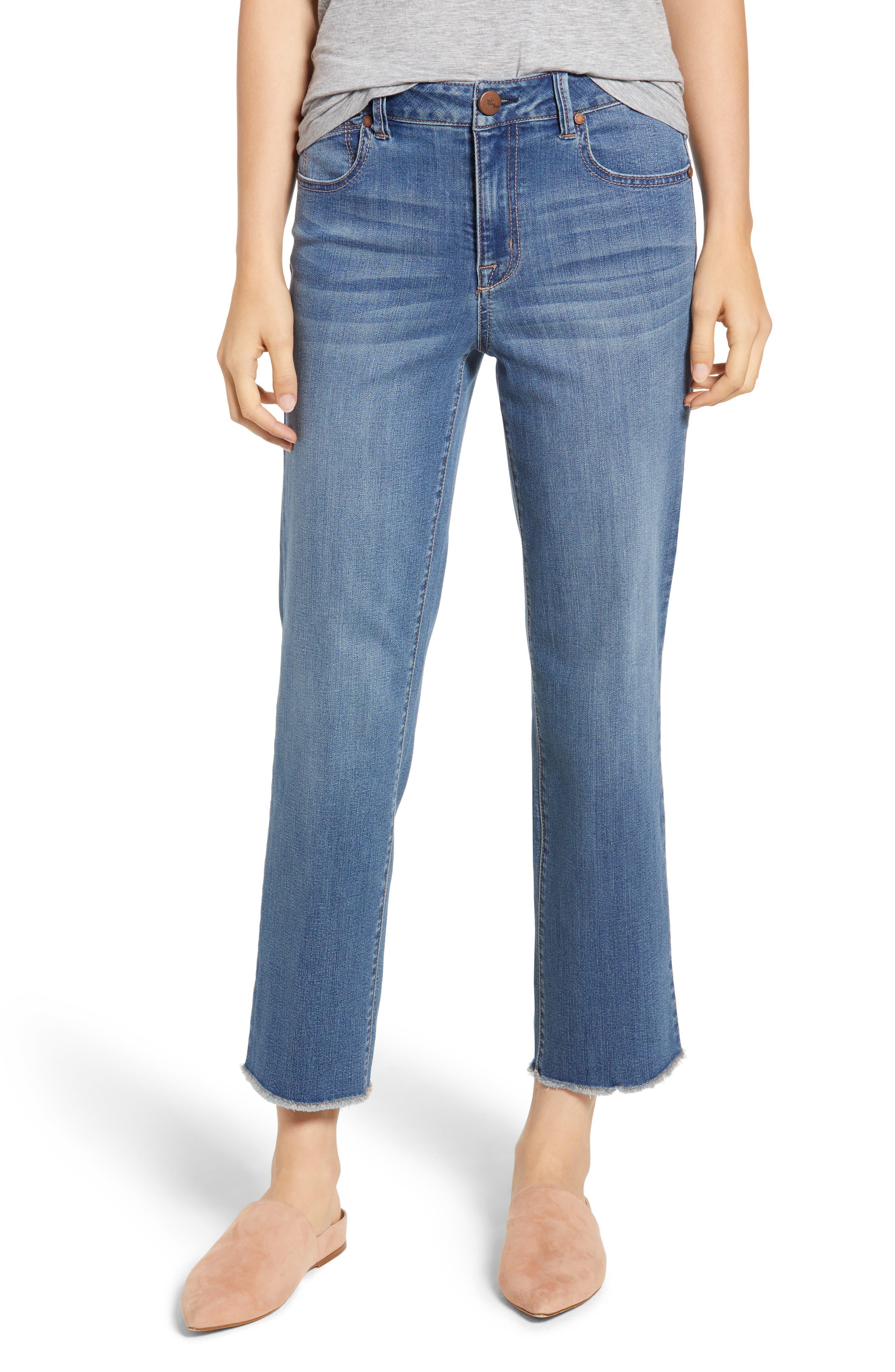 Ankle Straight Leg Jeans,                             Main thumbnail 1, color,                             KORN LIGHT WASH