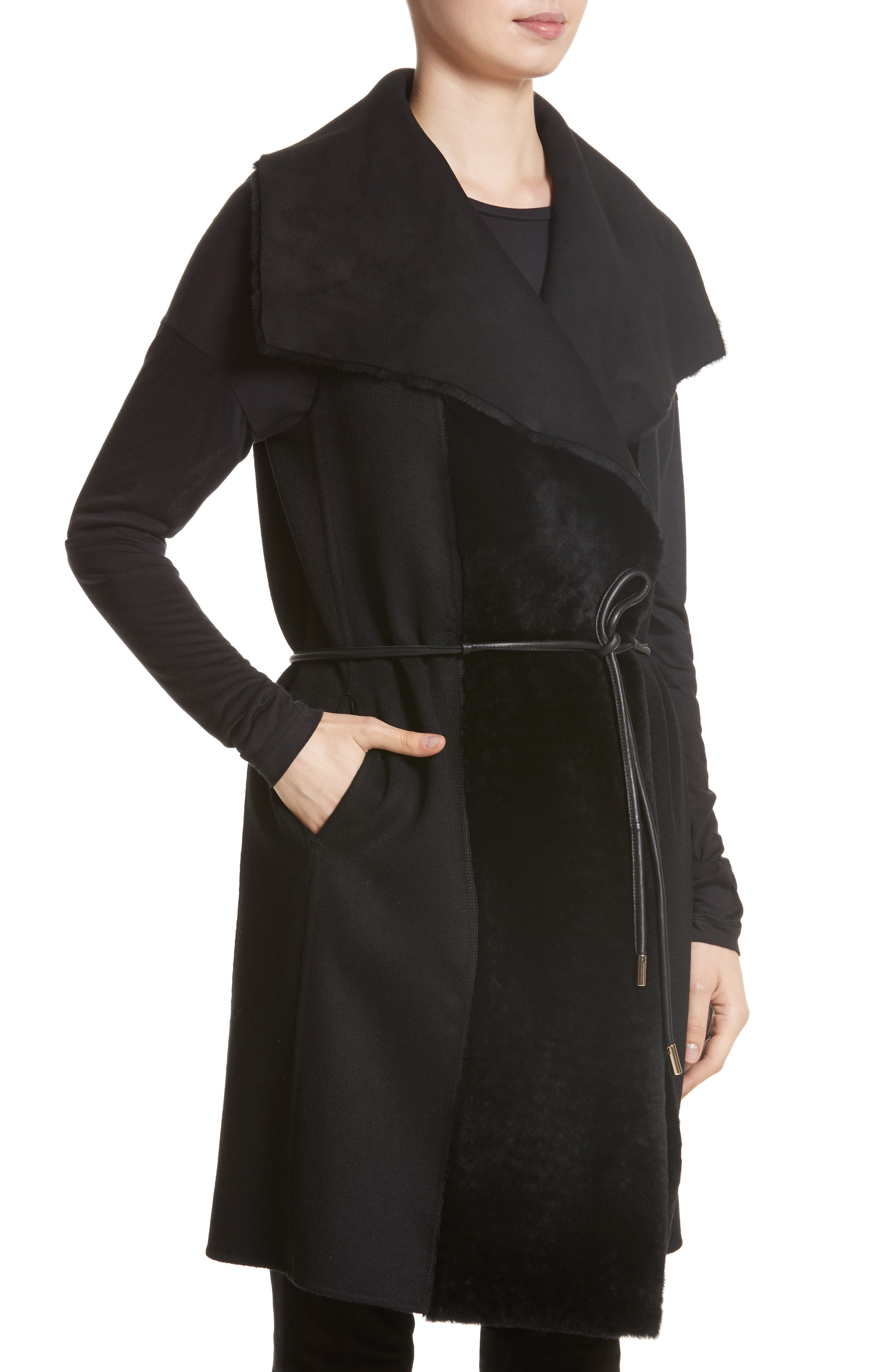 Divya Reversible Vest with Genuine Shearling Trim,                             Alternate thumbnail 2, color,                             001