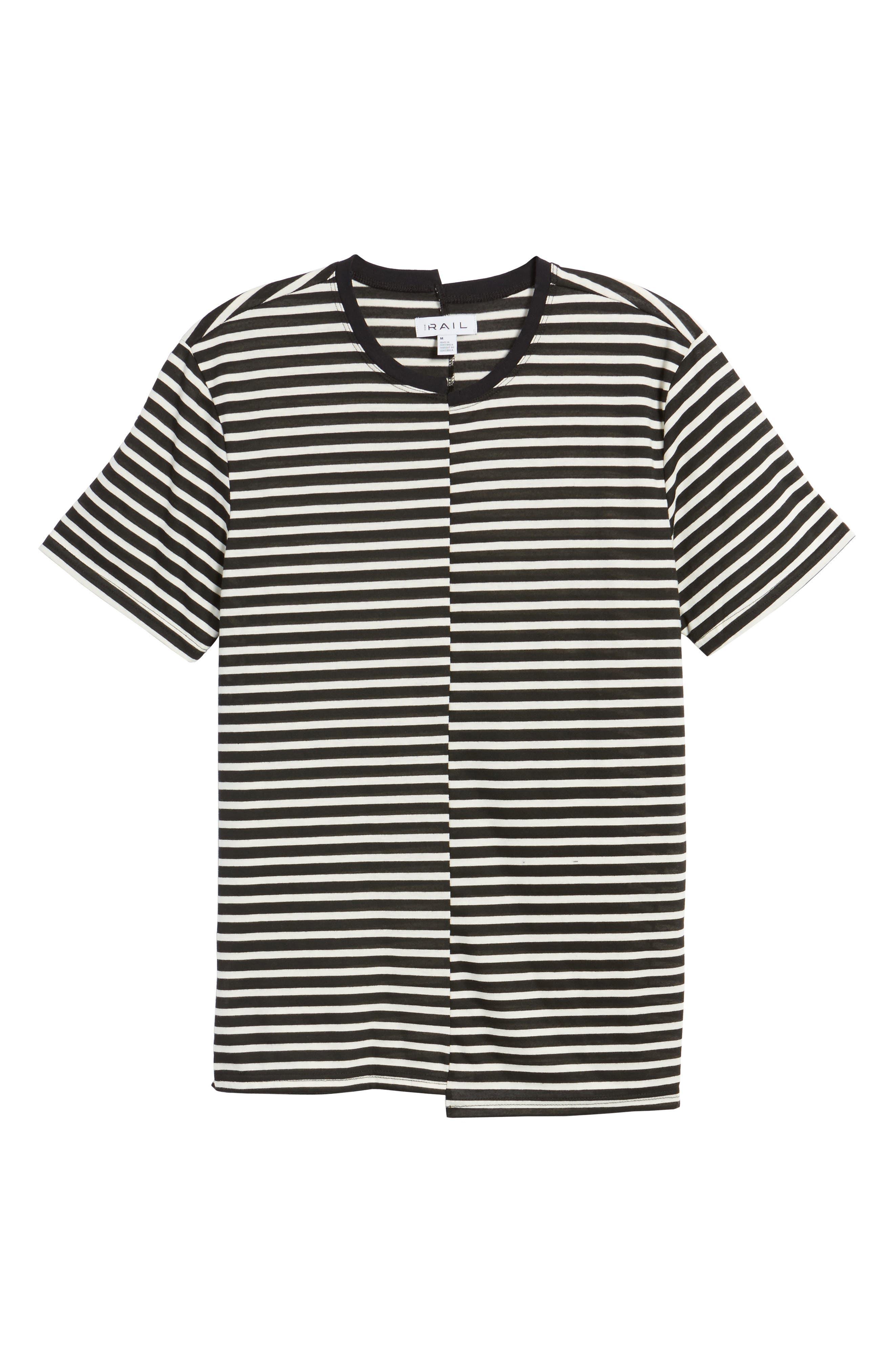 Spliced Stripe T-Shirt,                             Alternate thumbnail 6, color,                             001