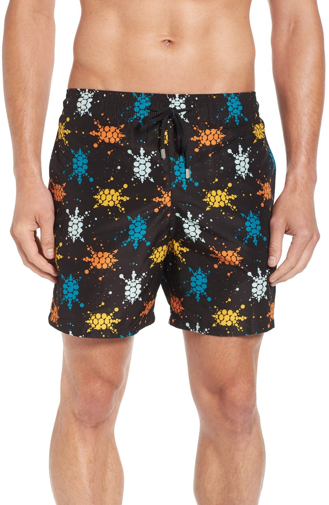 Japan Turtles Print Swim Trunks,                         Main,                         color, BLACK