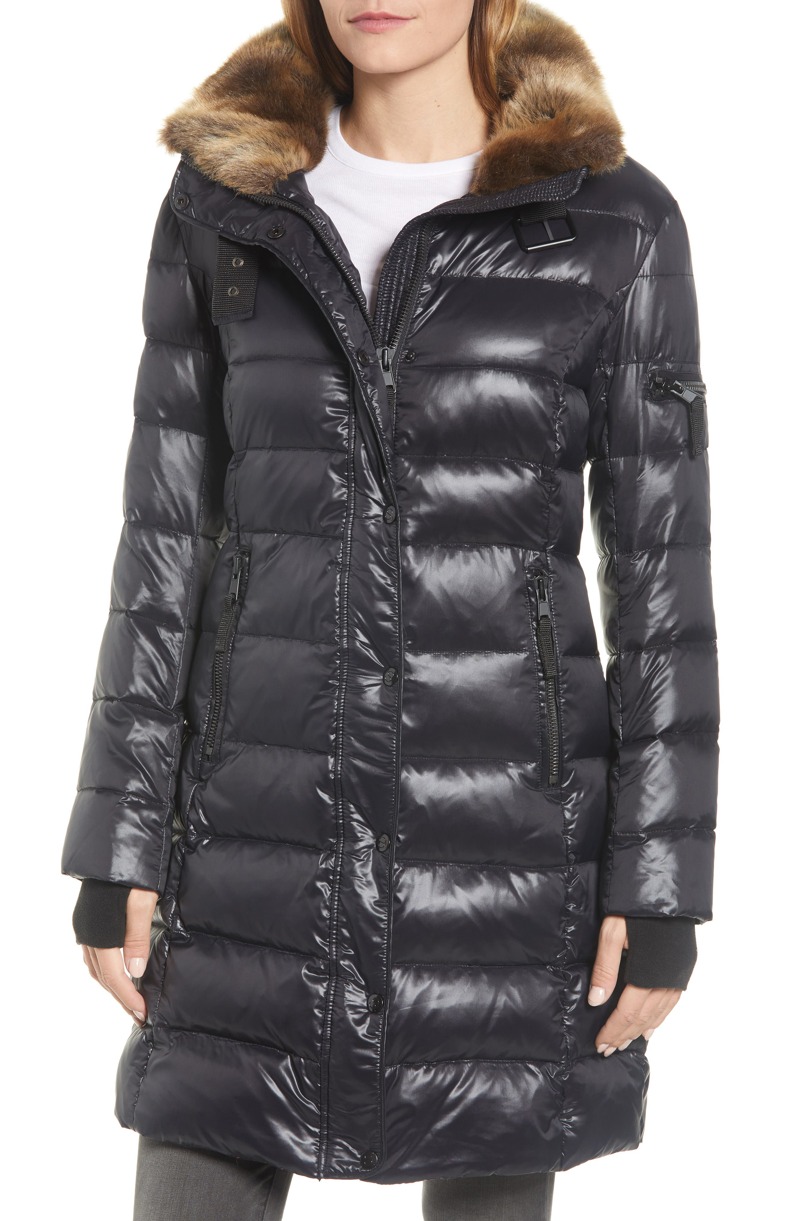 Uptown Down & Feather Fill Faux Fur Quilted Parka,                             Alternate thumbnail 4, color,                             002