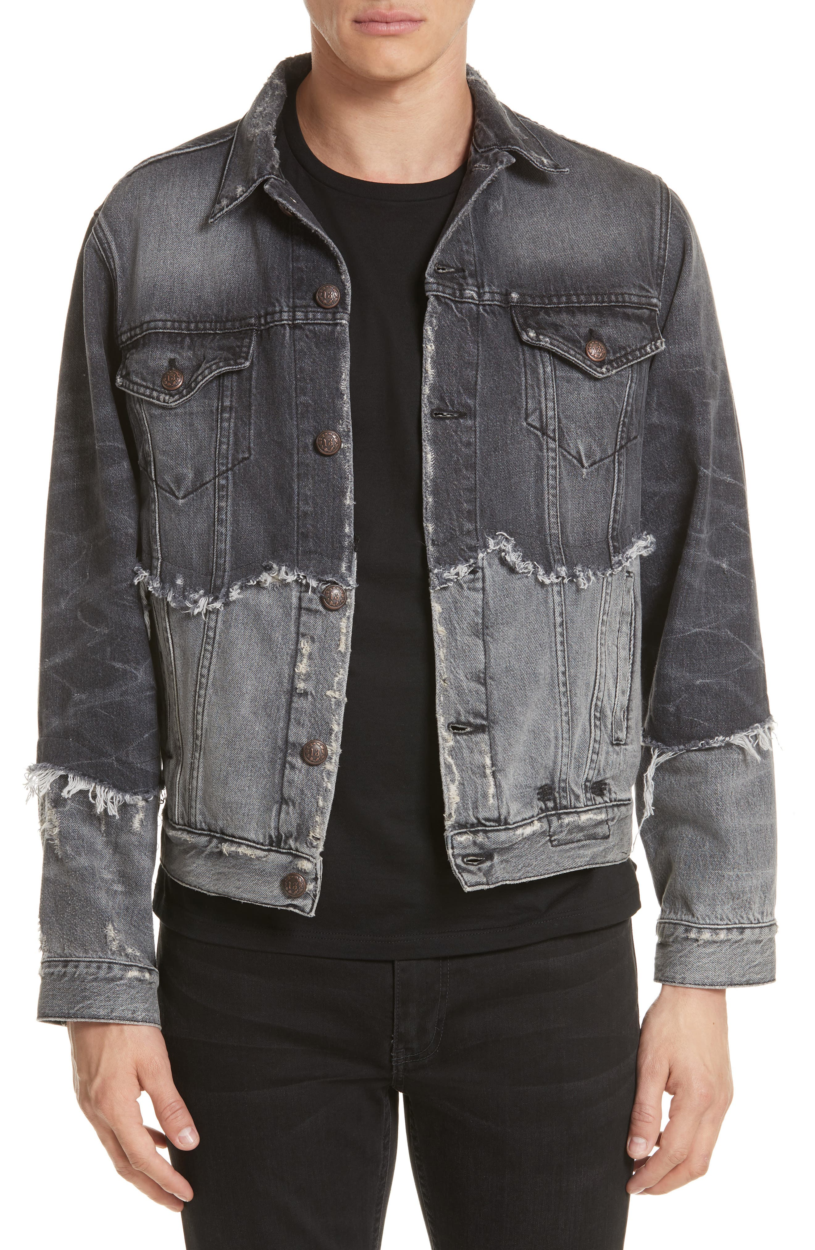 Shredded Two-Tone Denim Jacket,                             Main thumbnail 1, color,                             001