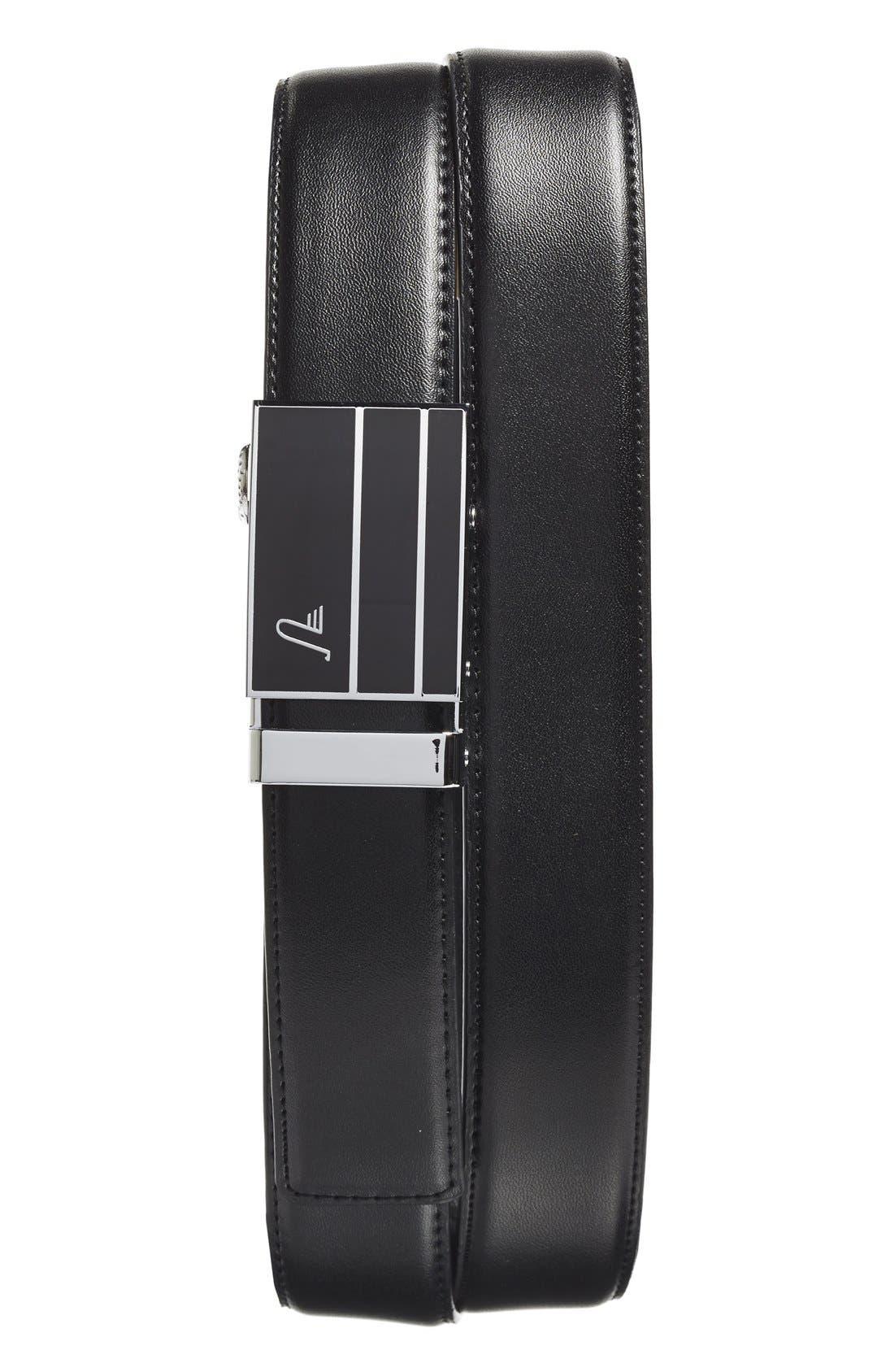 'Black Magic' Leather Belt,                             Main thumbnail 1, color,                             BLACK/ BLACK