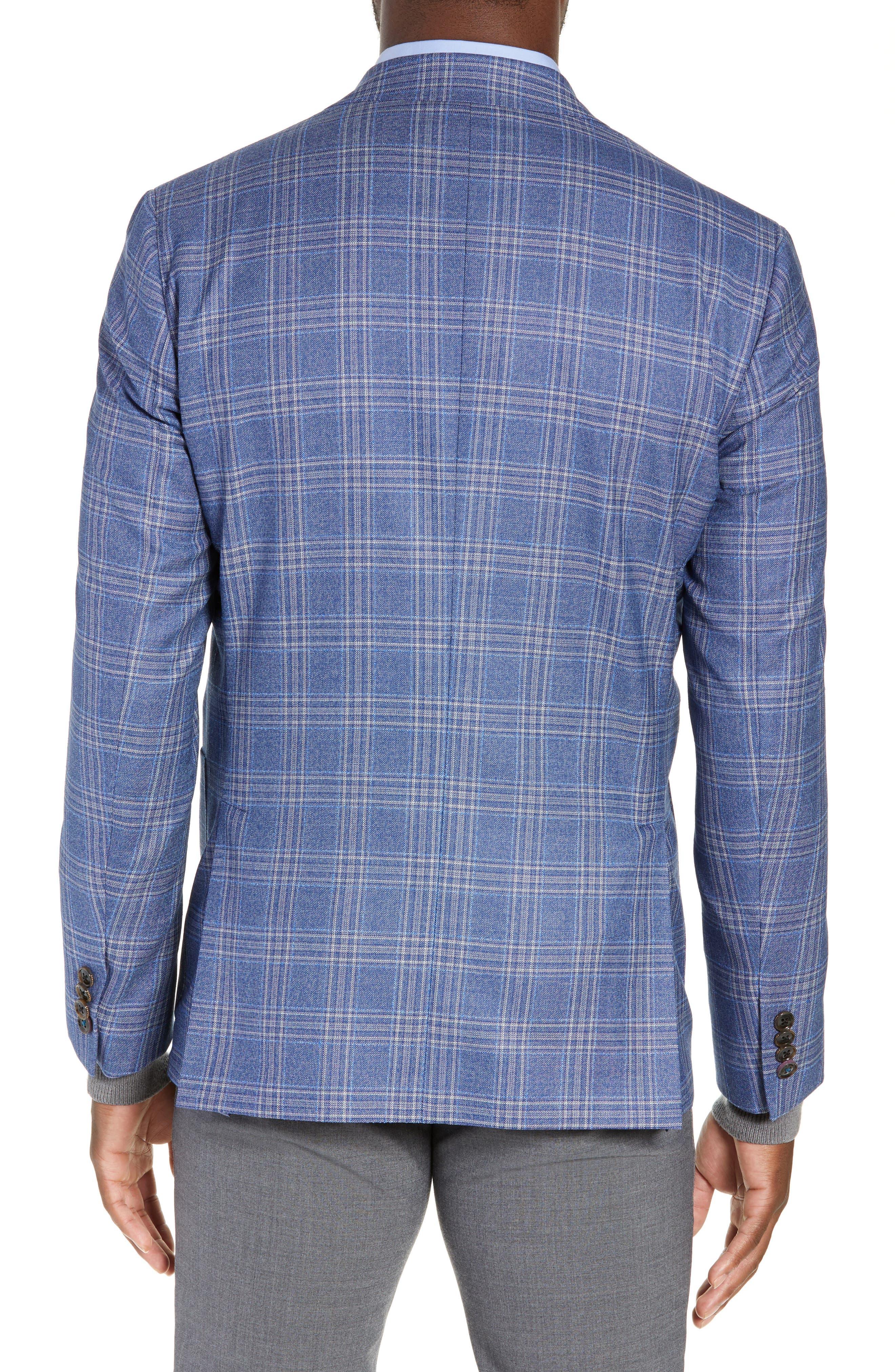Kyle Trim Fit Plaid Wool Sport Coat,                             Alternate thumbnail 2, color,                             LIGHT BLUE