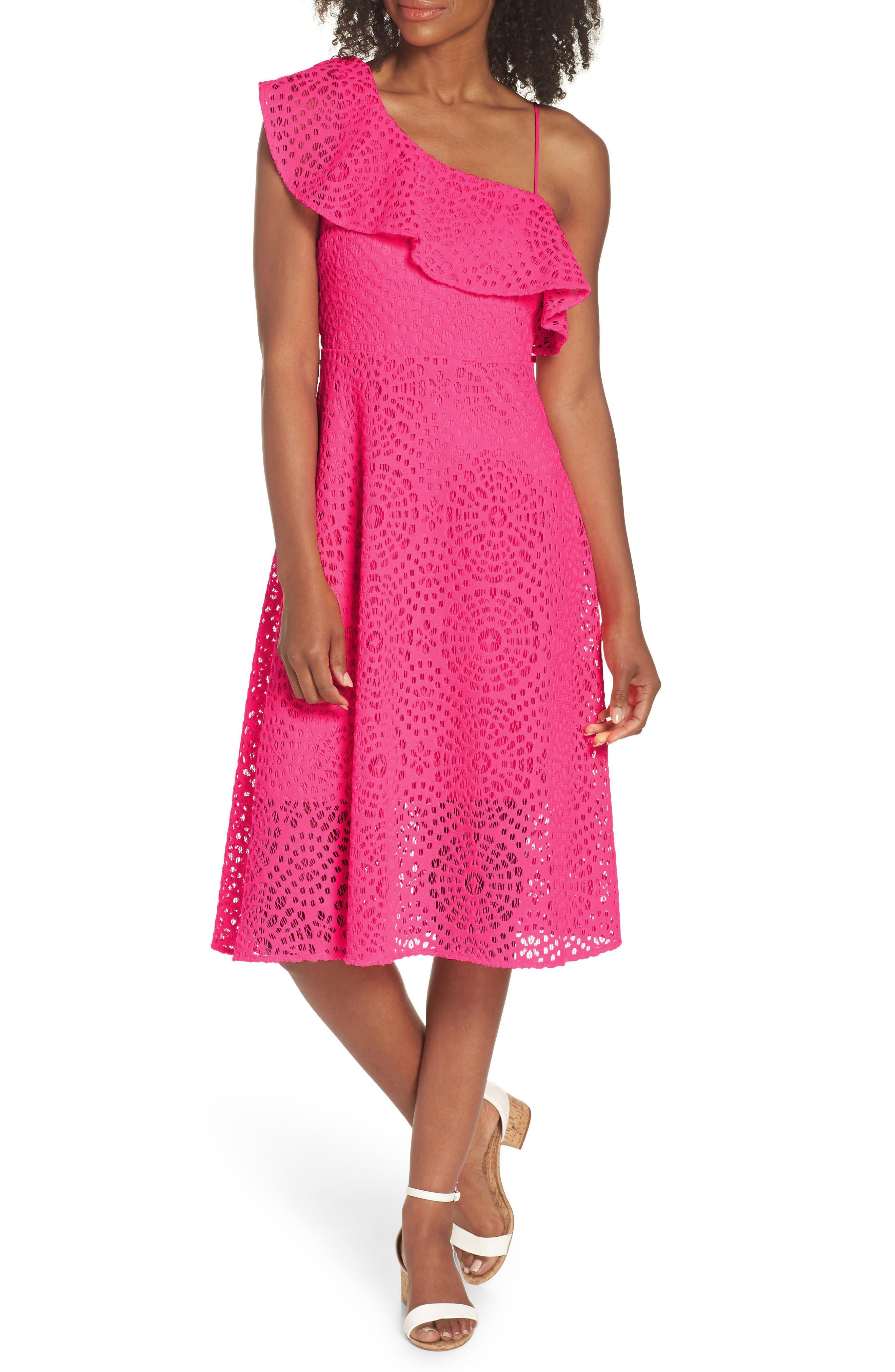 Callisto Ruffle One-Shoulder Midi Dress,                         Main,                         color, PINK SEA URCHIN TERRY LACE