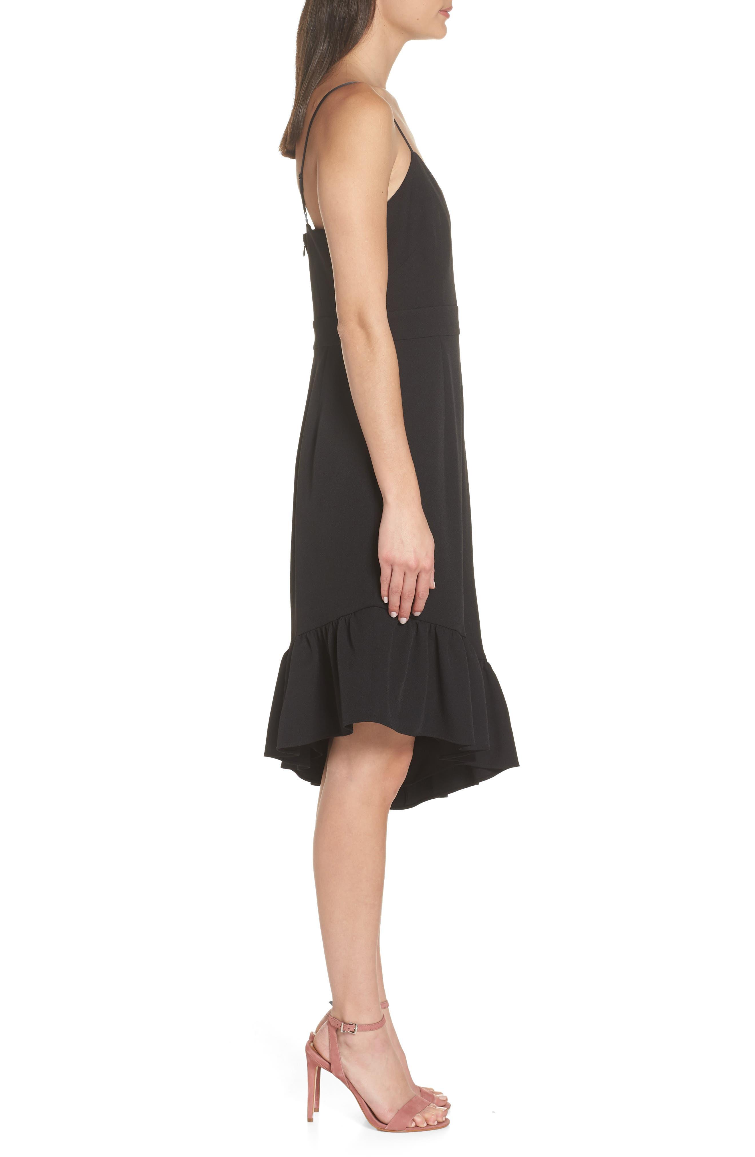 Asymmetric Ruffle Hem Dress,                             Alternate thumbnail 4, color,                             001